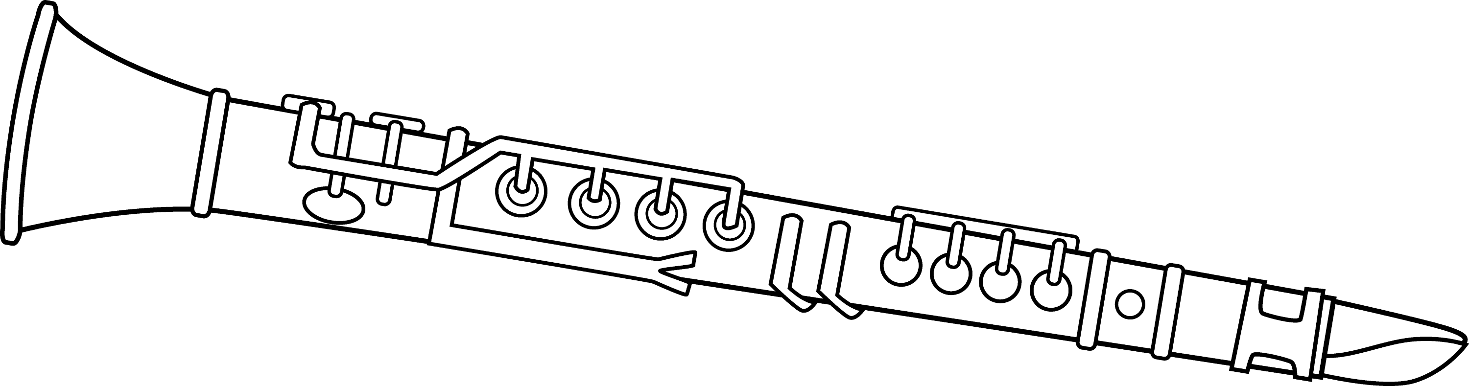 Black and white clarinet design free clip art for Clarinet coloring page
