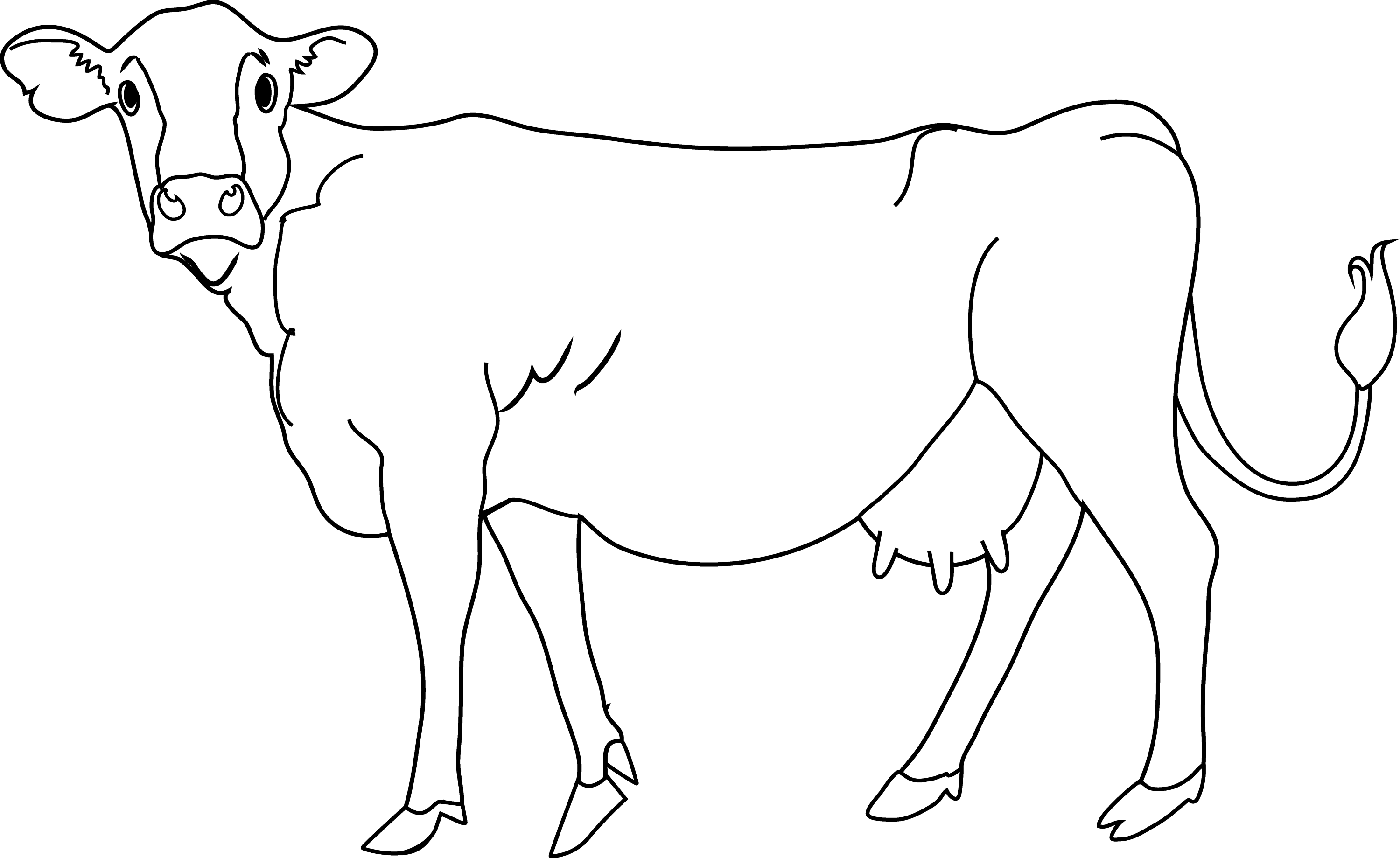 Line Drawing Cow : Cow coloring page free clip art