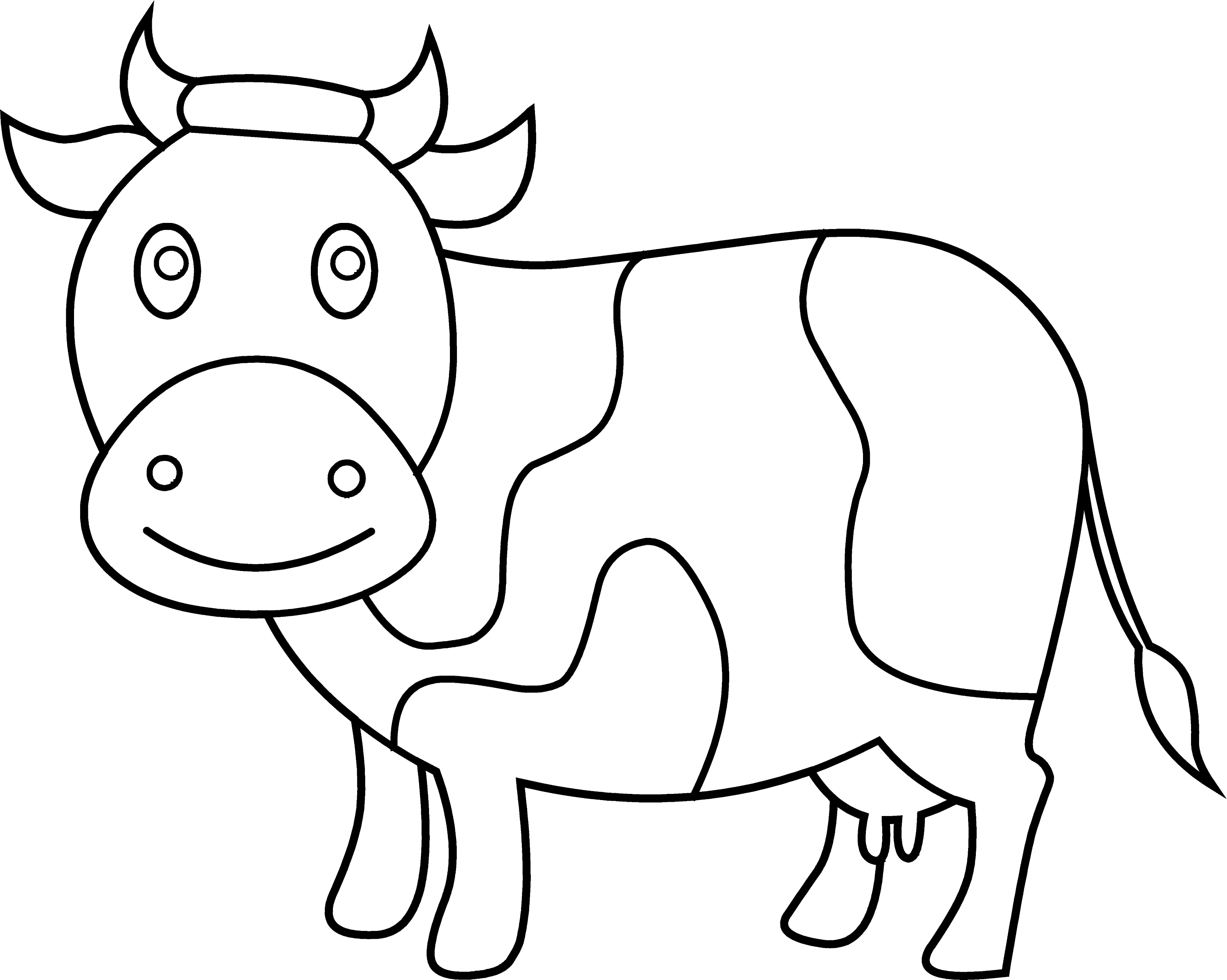 Cute Cow Coloring Page - Free Clip Art