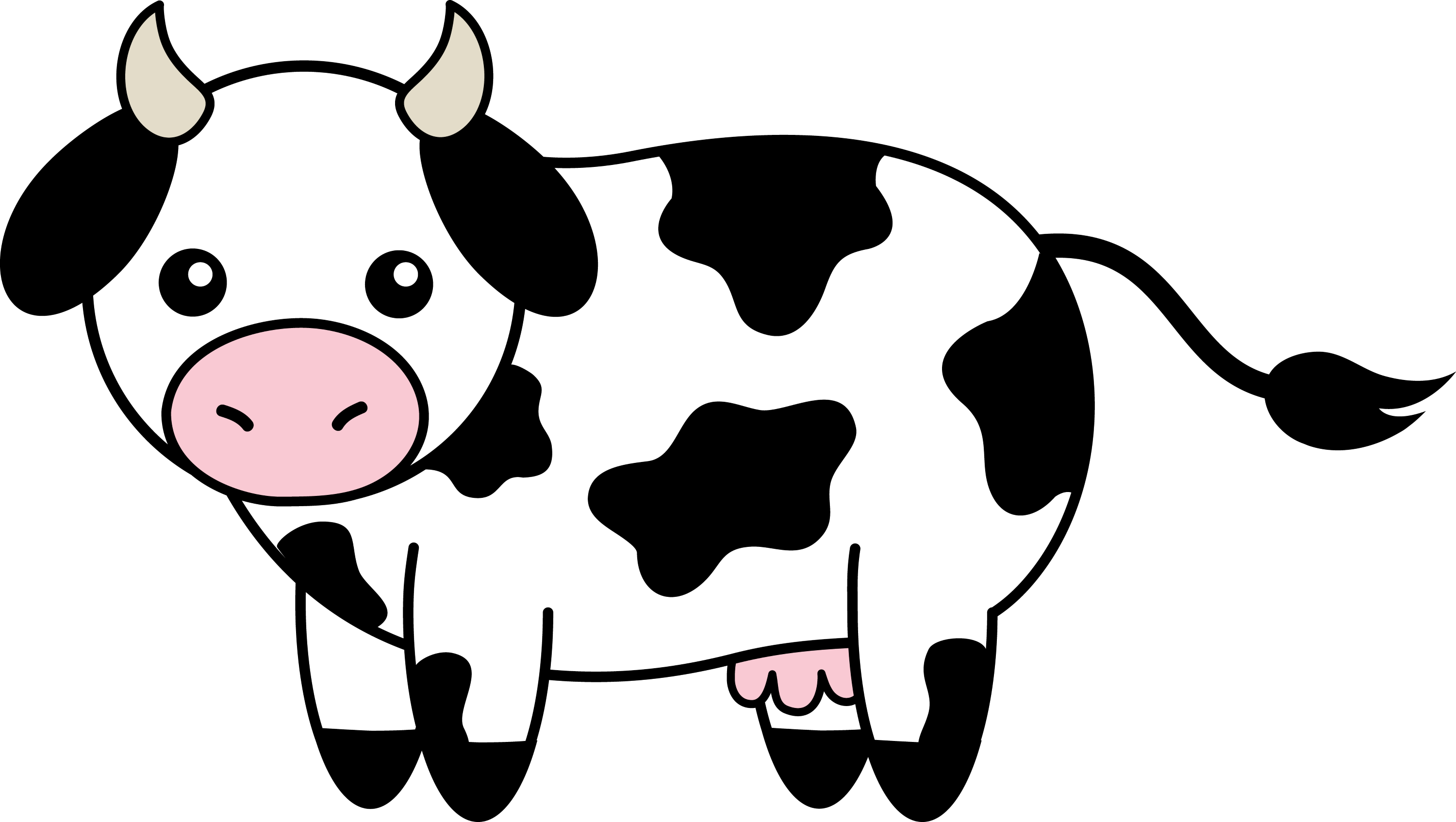 Cute Black and White Cow - Free Clip Art