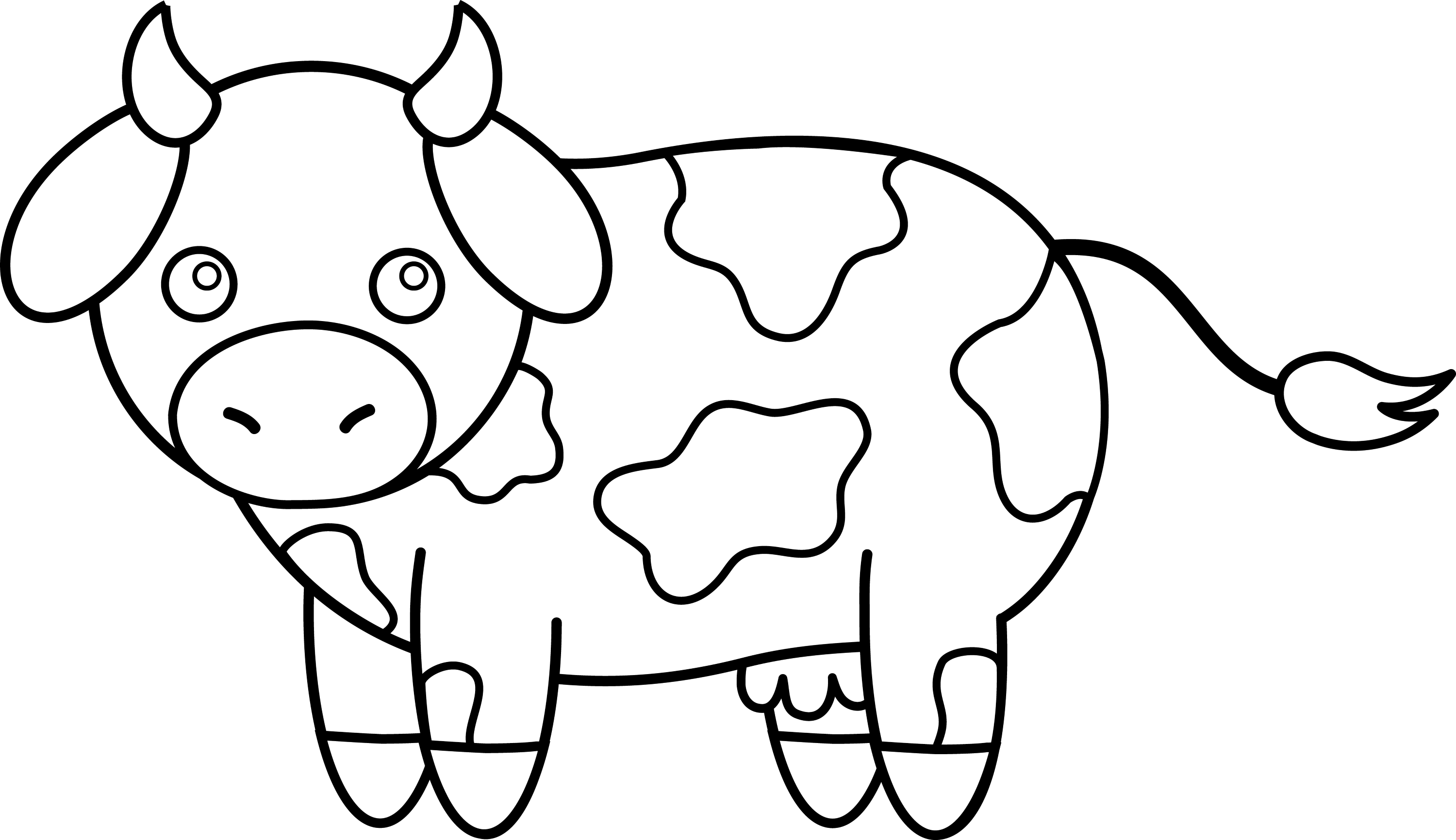 Colorable Little Cow - Free Clip Art