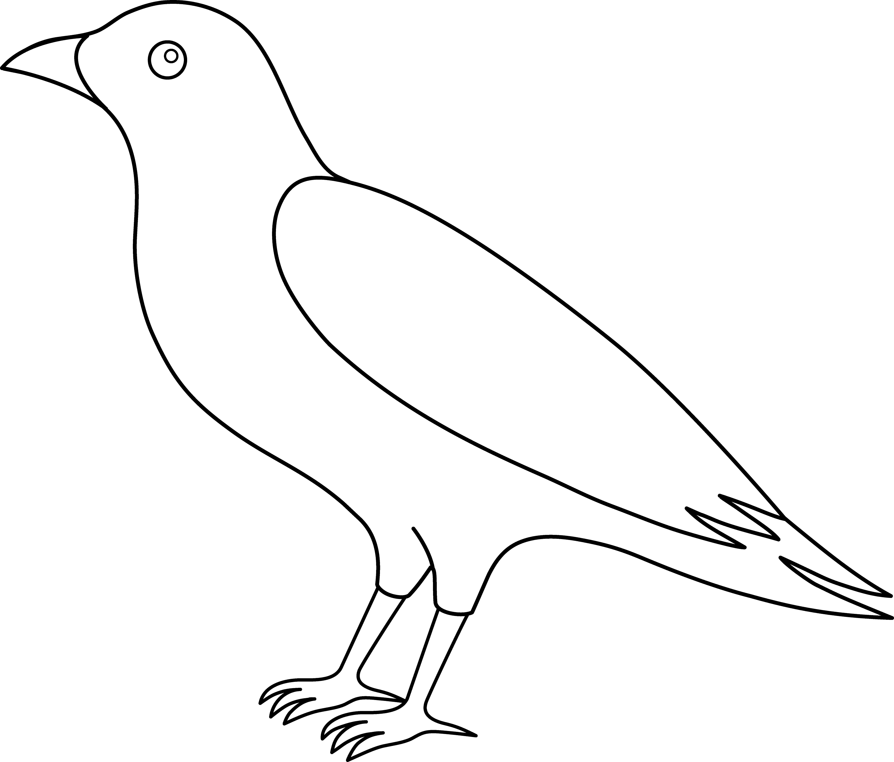 Line Drawing Of Animals And Birds : Colorable crow line art free clip