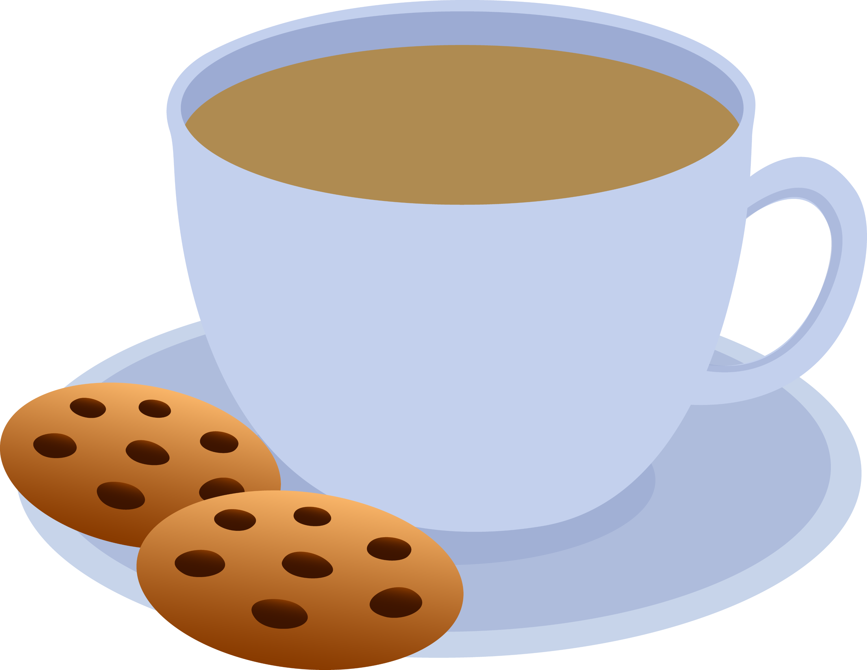 Cup of Coffee and Chocolate Chip Cookies - Free Clip Art