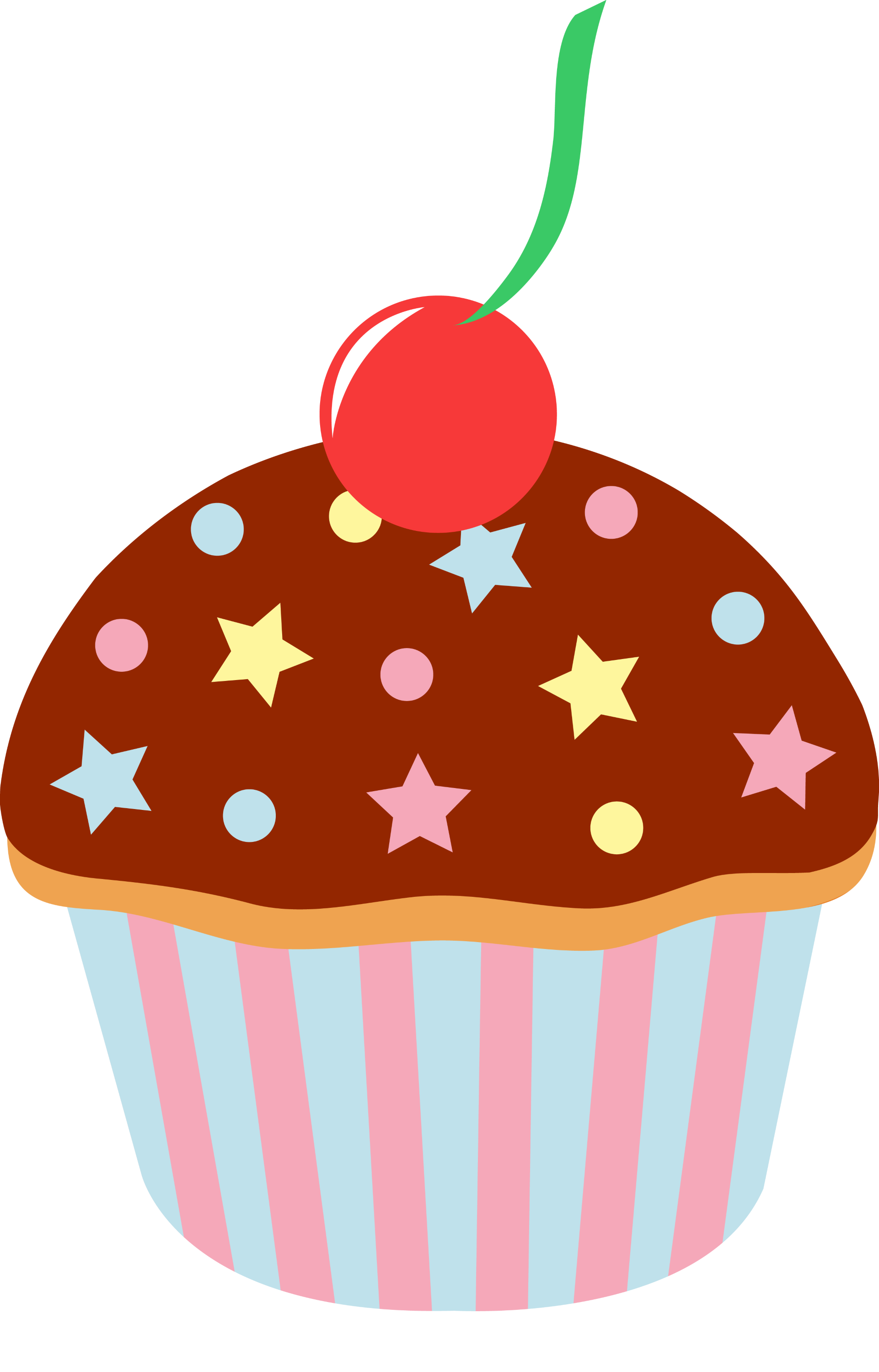 Free Cupcake Clipart : Chocolate Cupcake With Sprinkles and Cherry - Free Clip Art