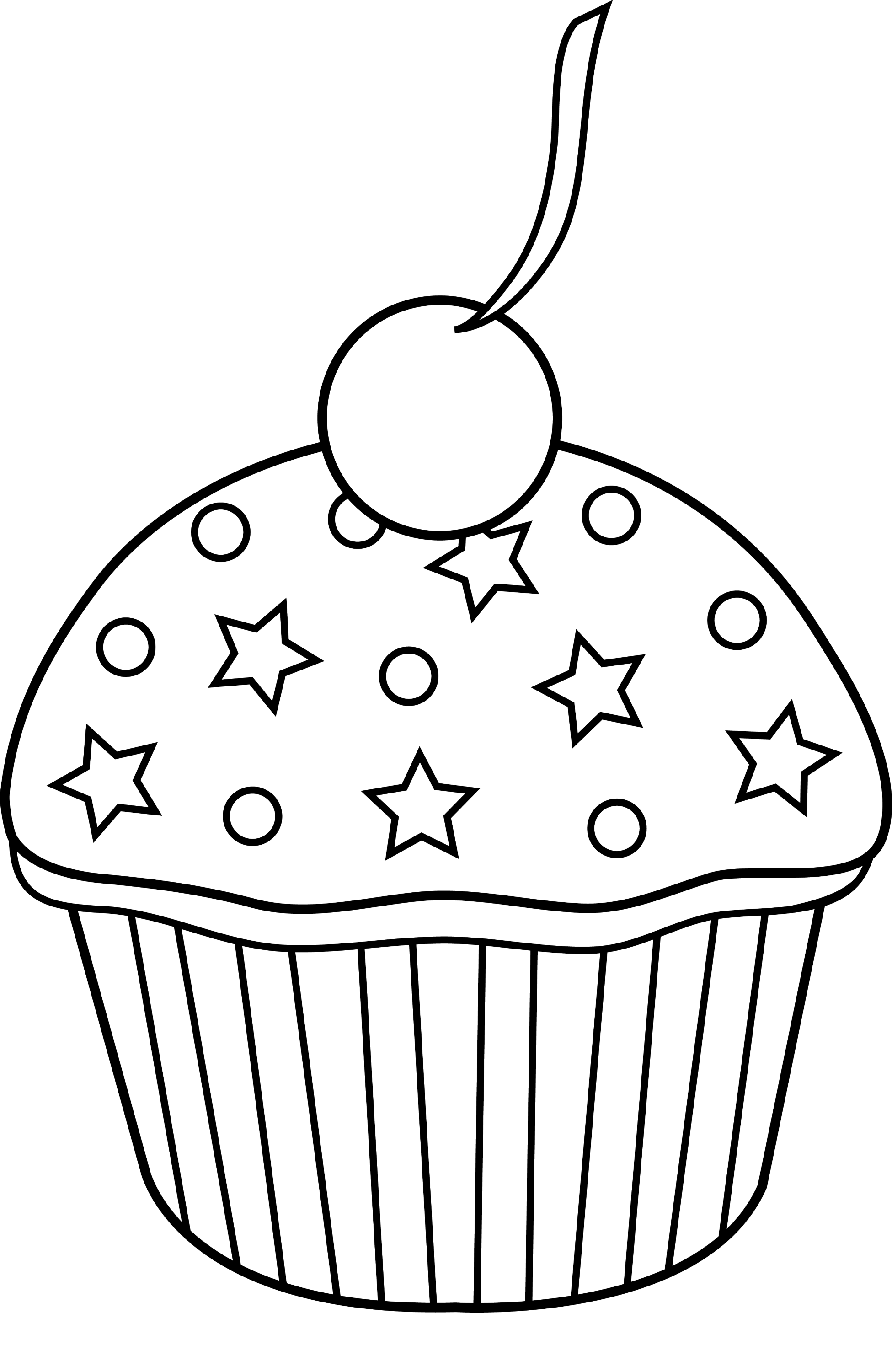 Cute Colorable Cupcake Design - Free Clip Art