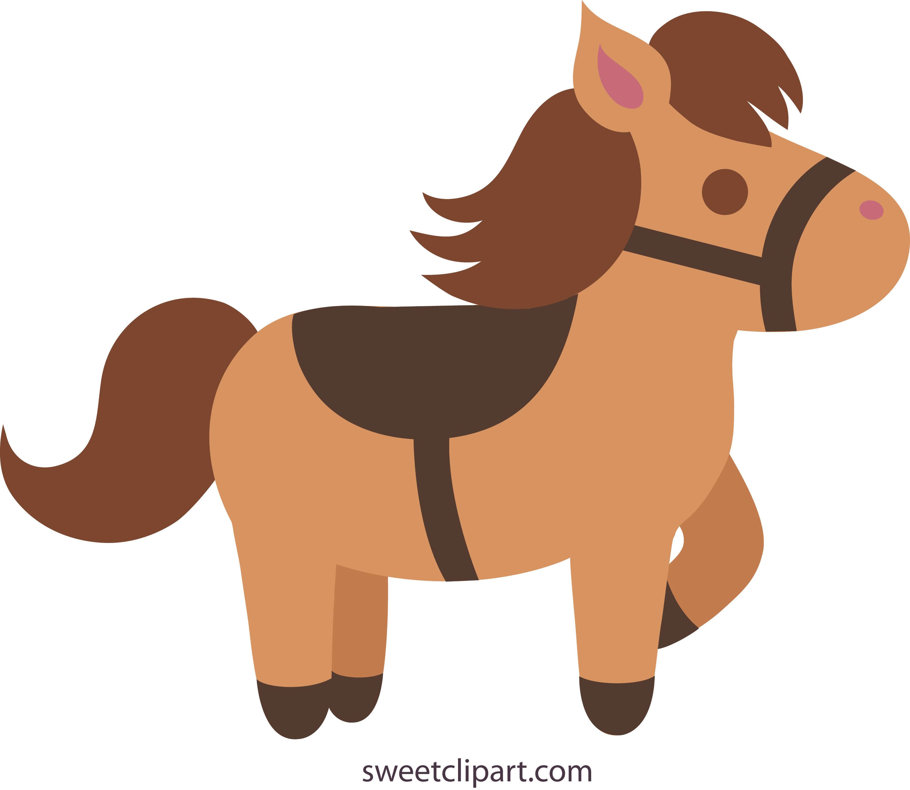 cute brown pony with saddle free clip art rh sweetclipart com Black Horse with Saddle Horse Bridle Clip Art