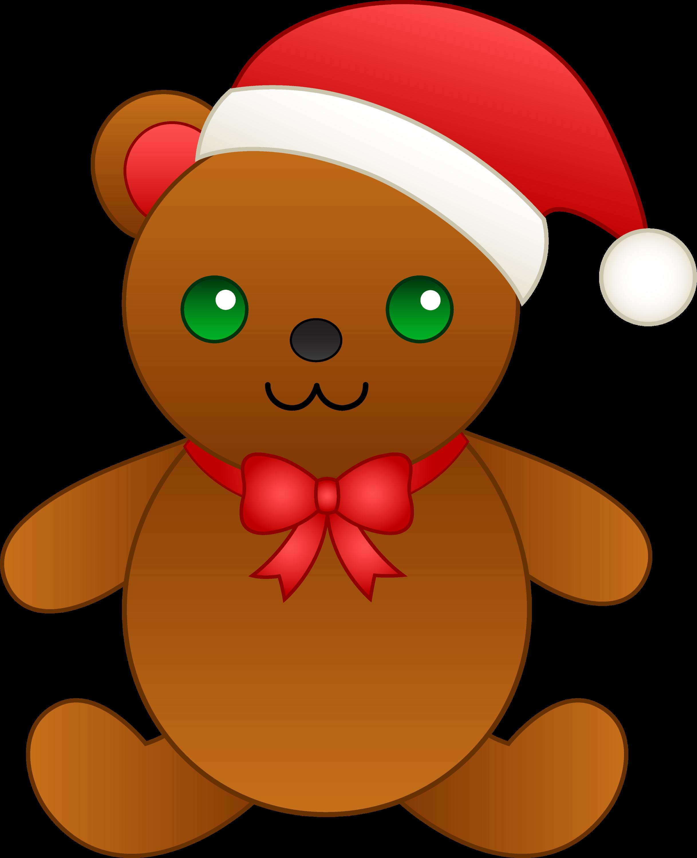 Christmas Clip Art Cute.Christmas Teddy Bear With Santa Hat Free Clip Art