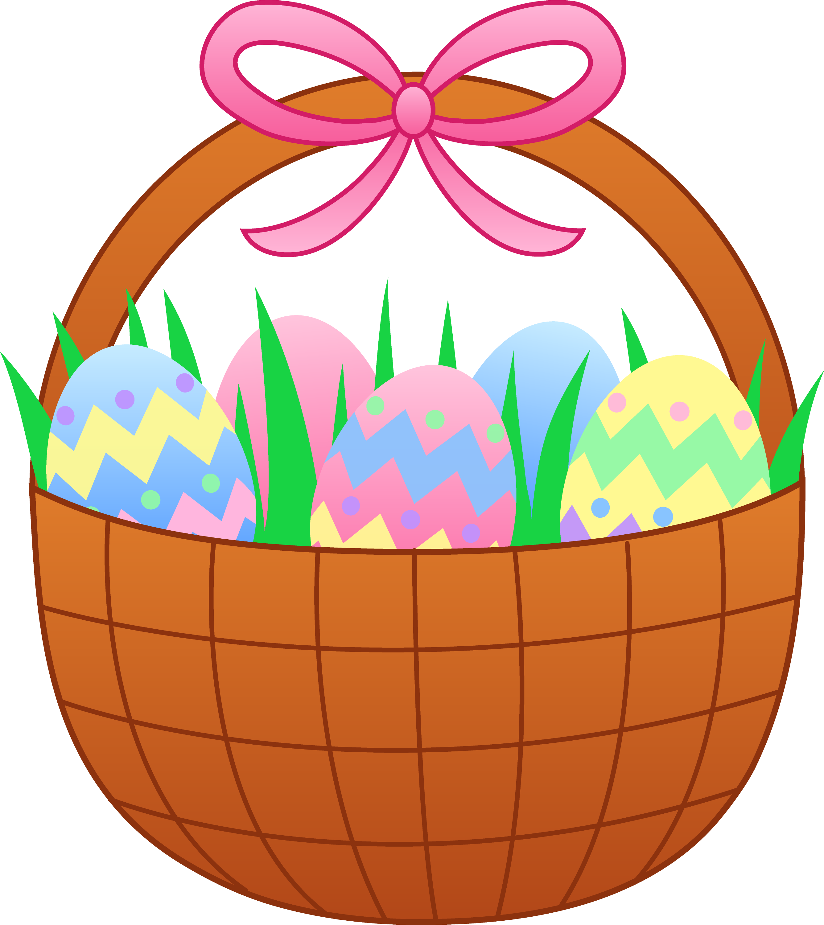 easter basket with colorful eggs free clip art rh sweetclipart com empty easter basket clipart easter basket clipart black and white