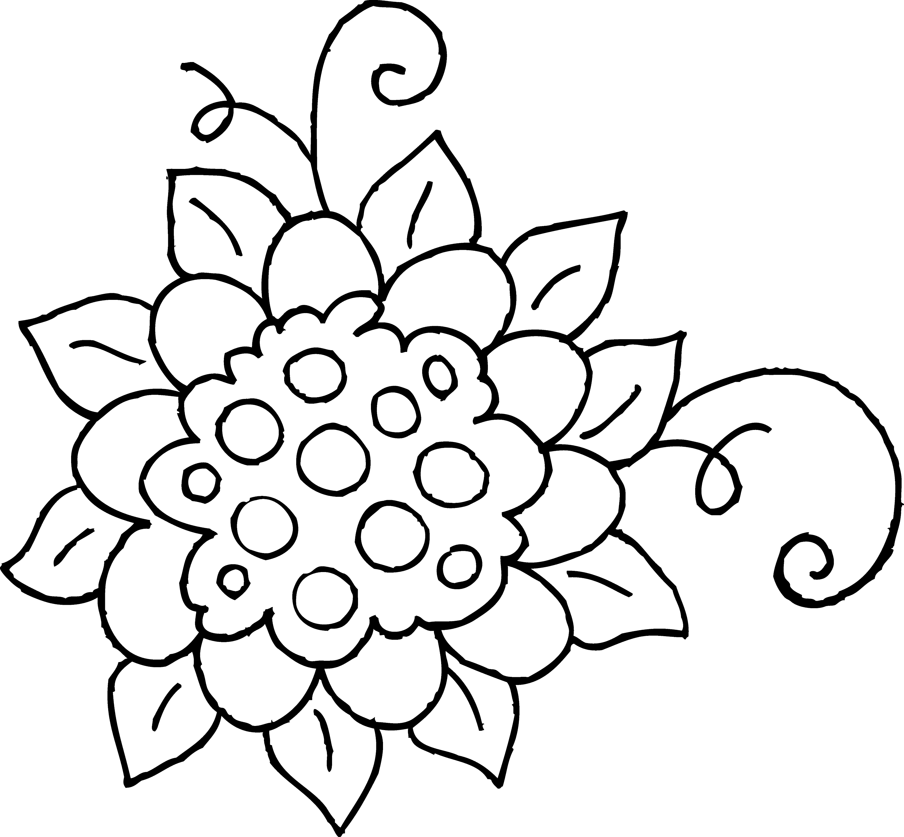 Cute spring flower coloring page 1 free clip art