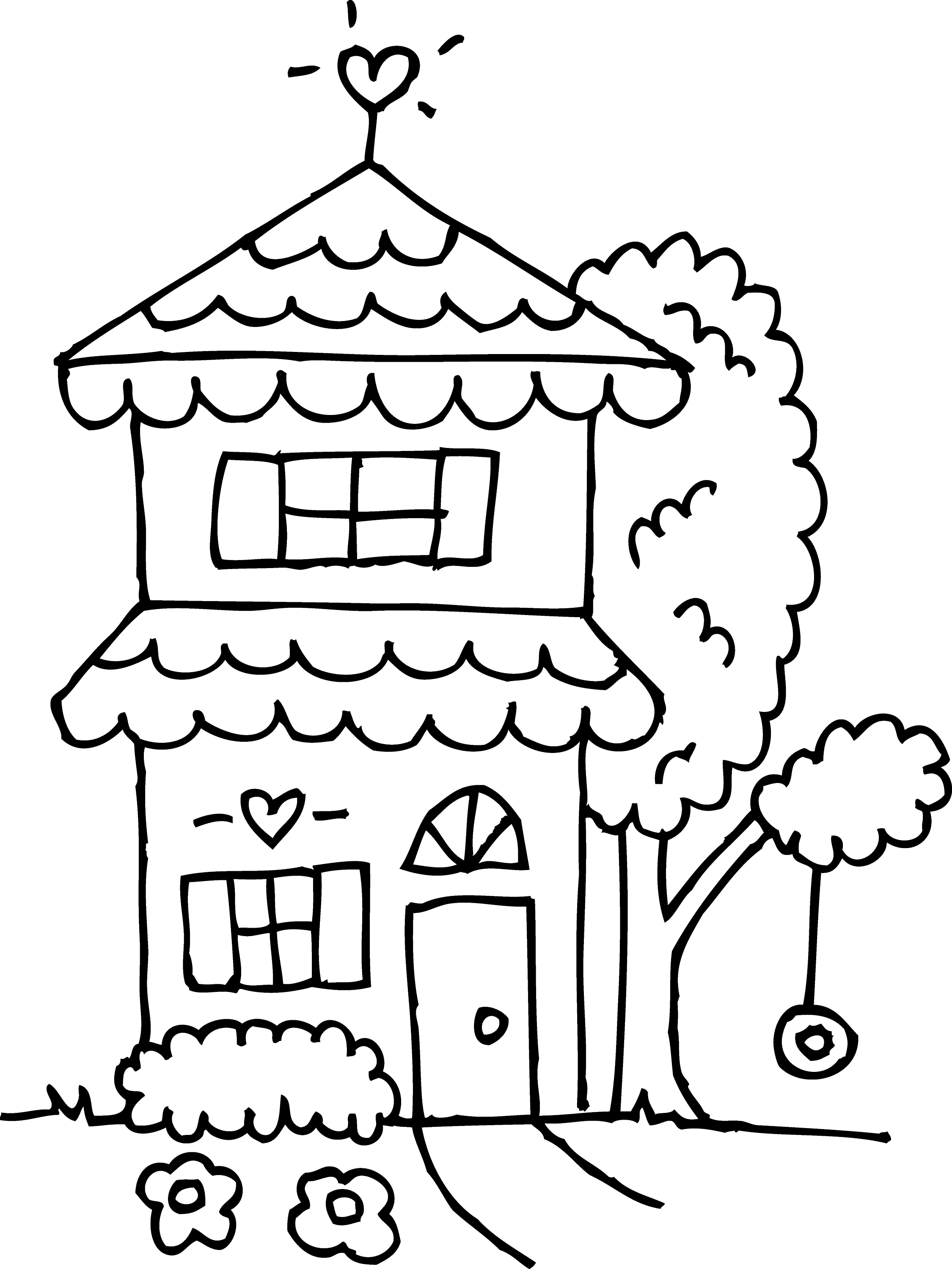 Free coloring pages houses and homes - Two Story House Coloring Page