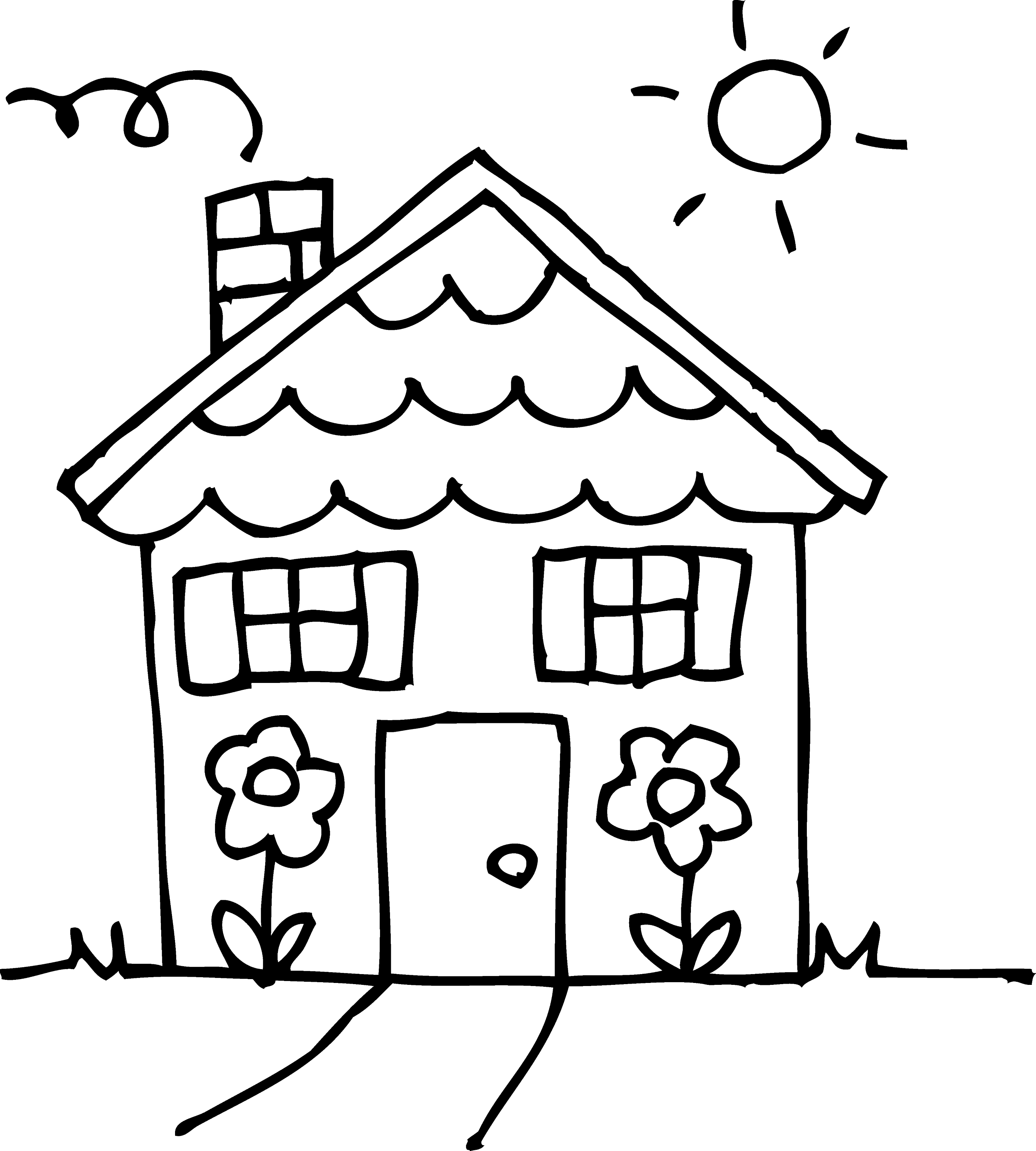 sunny day house coloring page free clip art