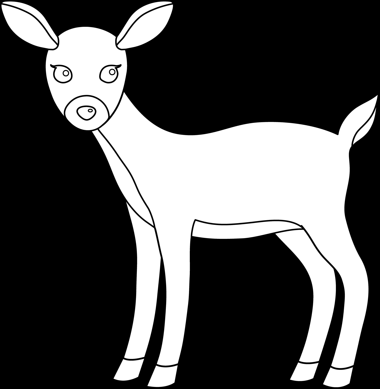 Line Art Deer : Cute deer line art free clip