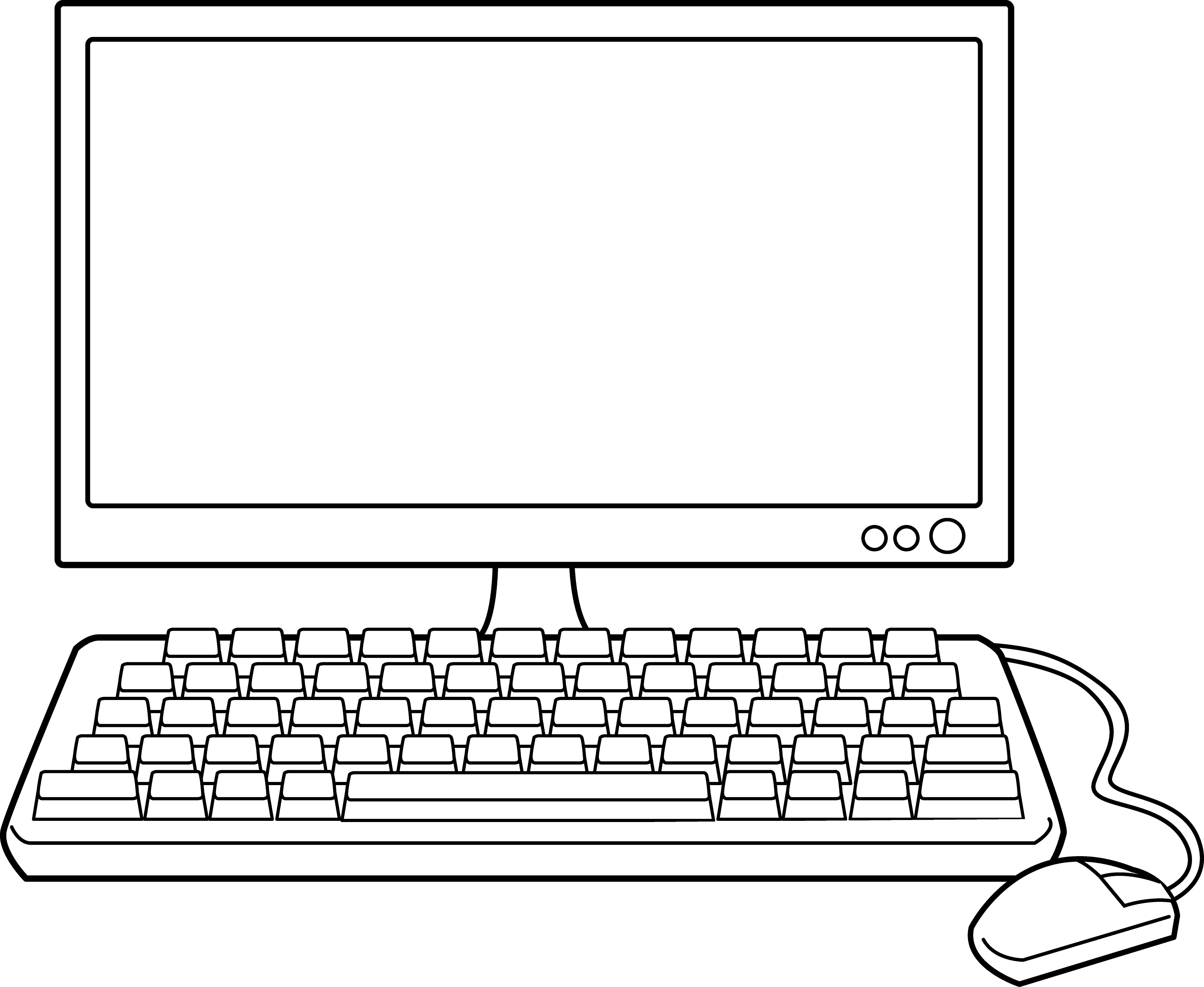Line Drawing Keyboard : Desktop computer line art free clip