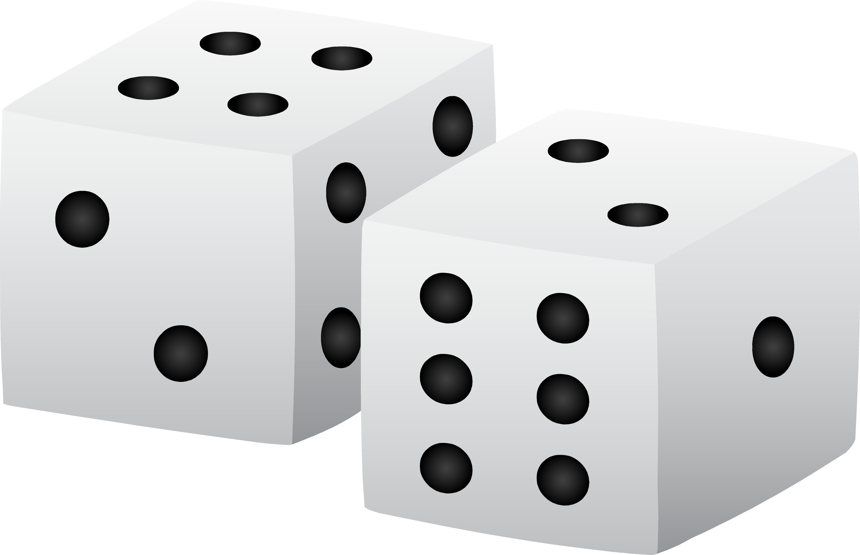 Black and White Playing Dice - Free Clip Art