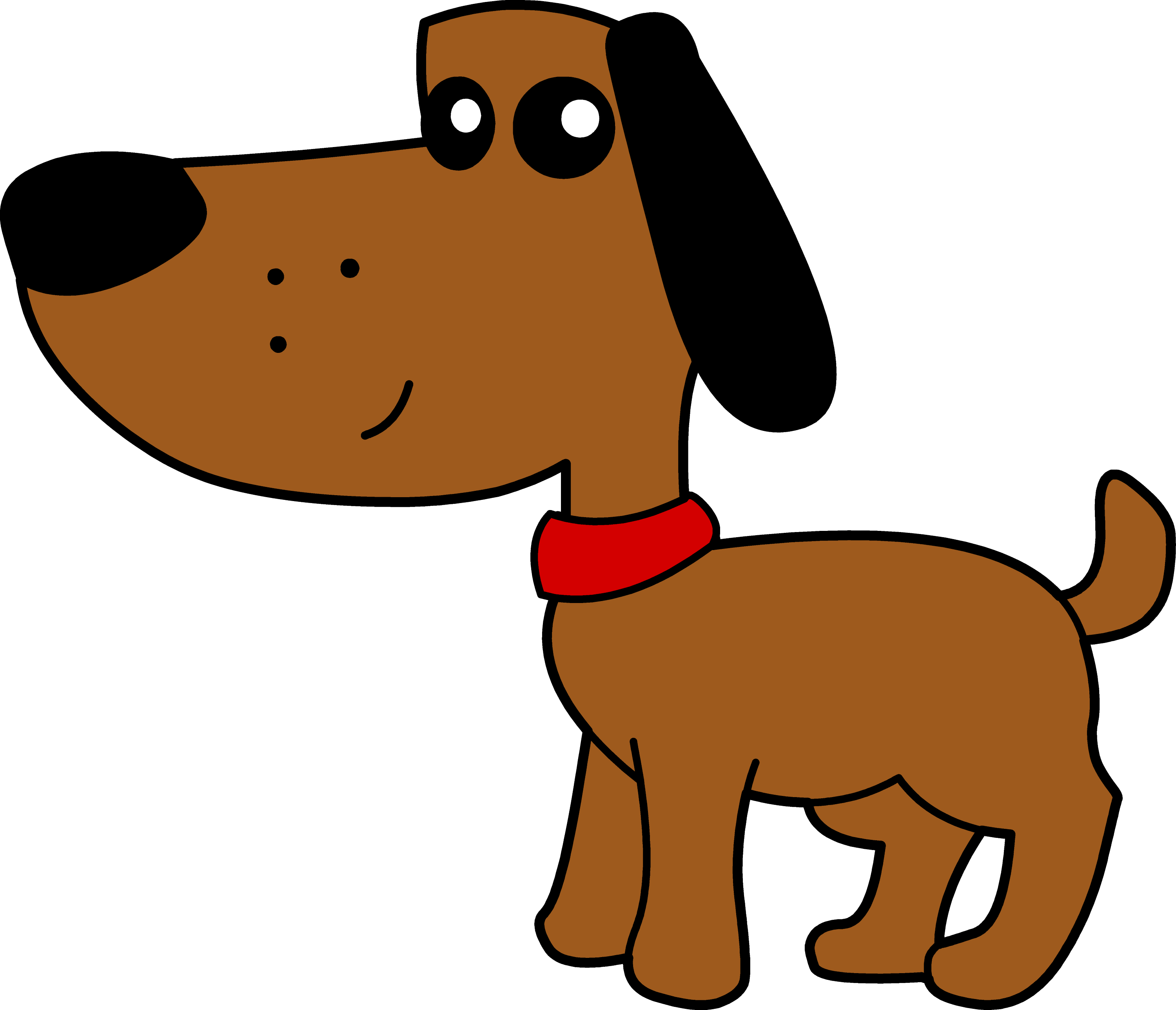 Cute Brown Dog With Red Collar - Free Clip Art