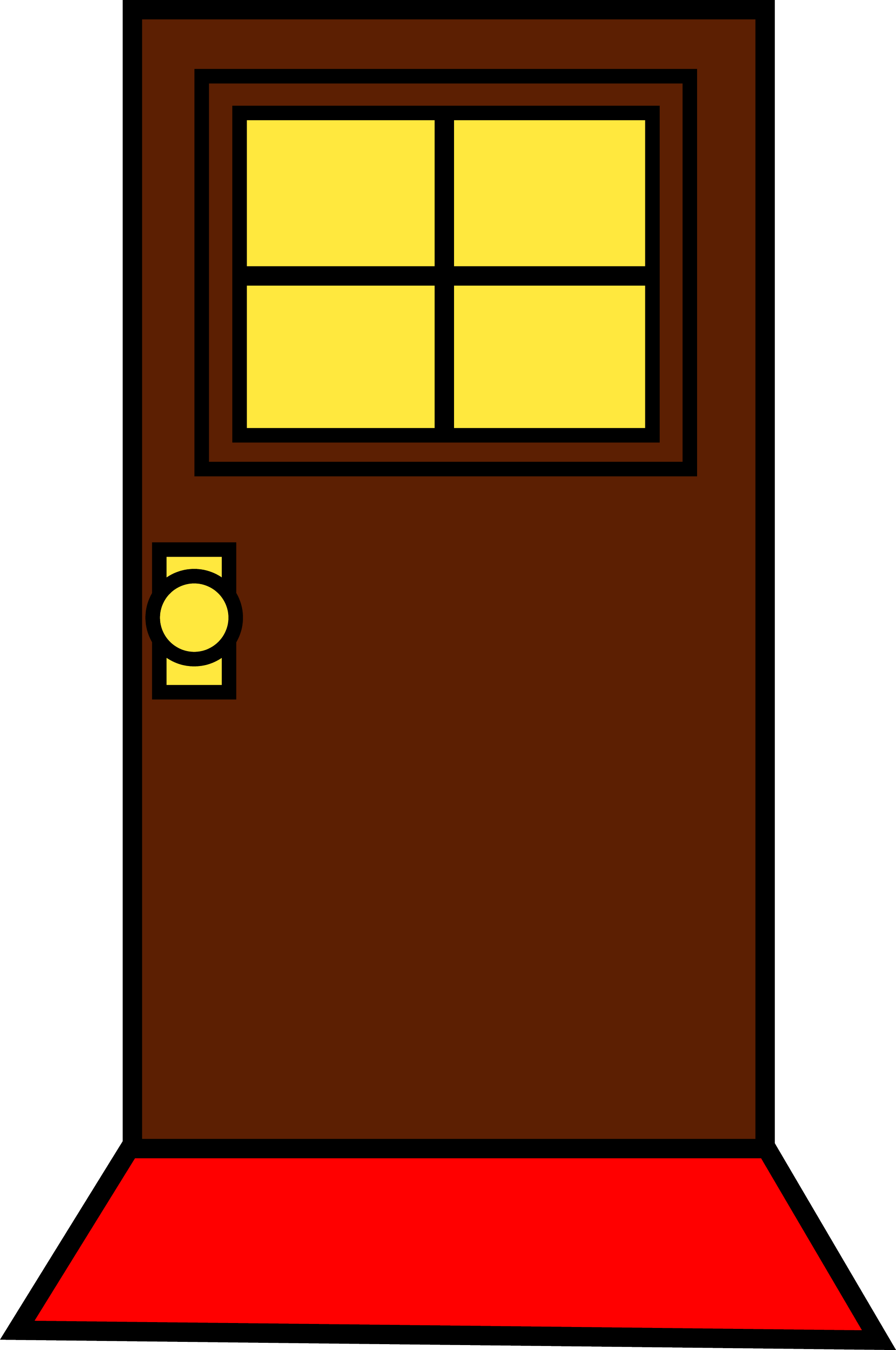 Door With Window and Doormat