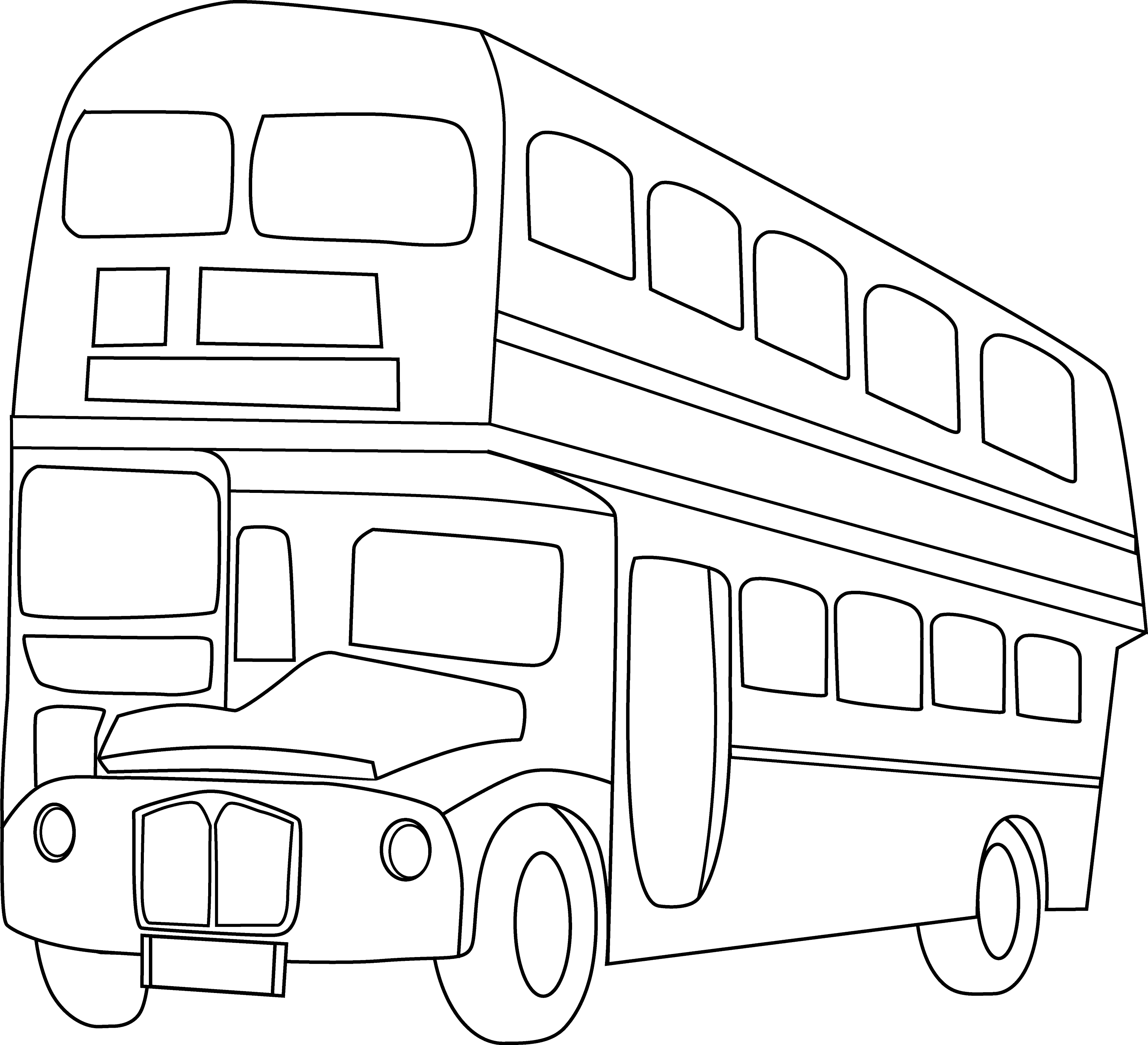 Double Decker Bus Line Art - Free Clip Art