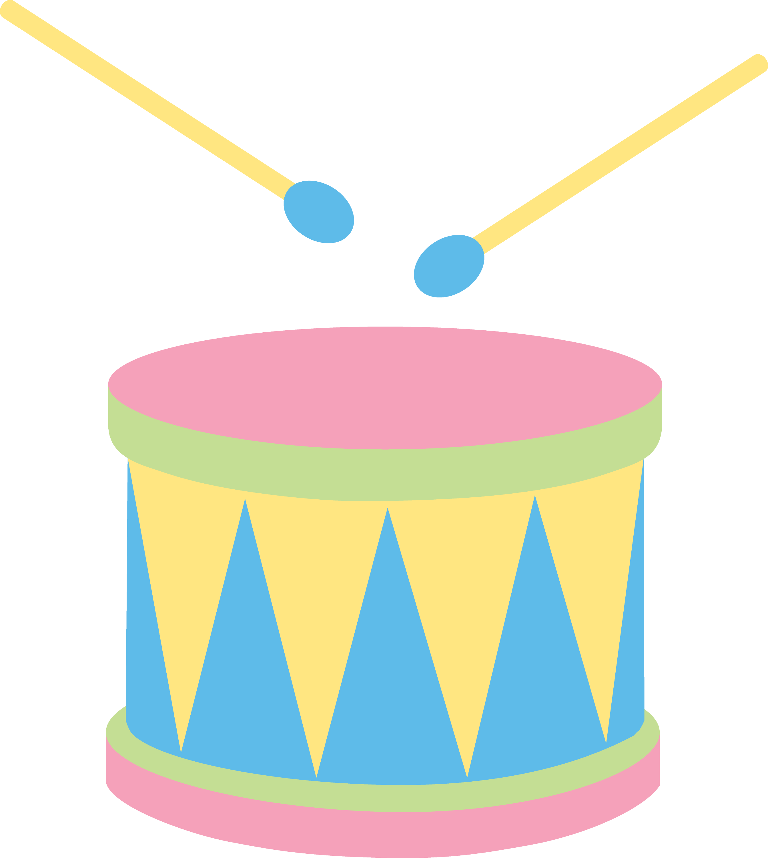 Pastel Kids Drum Free Clip Art