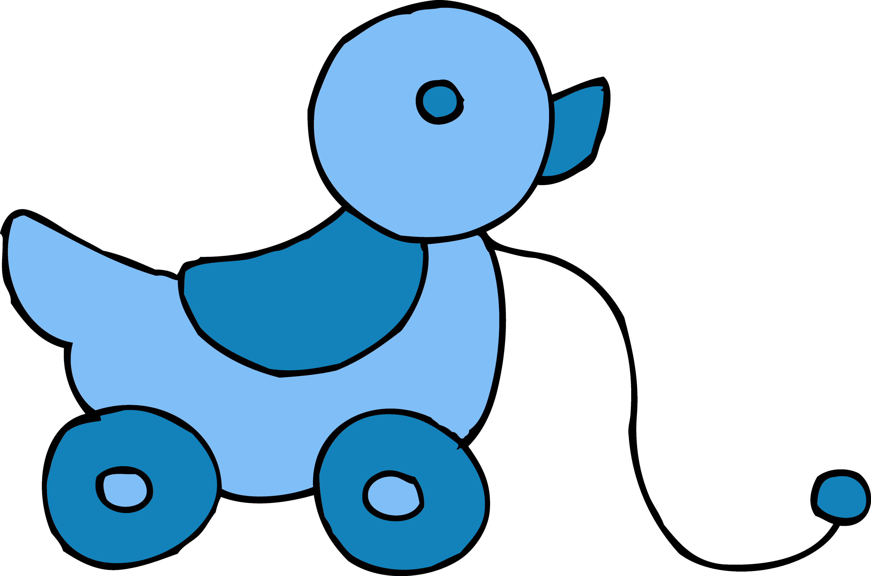 Cute Rolling Blue Ducky Toy Free Clip Art