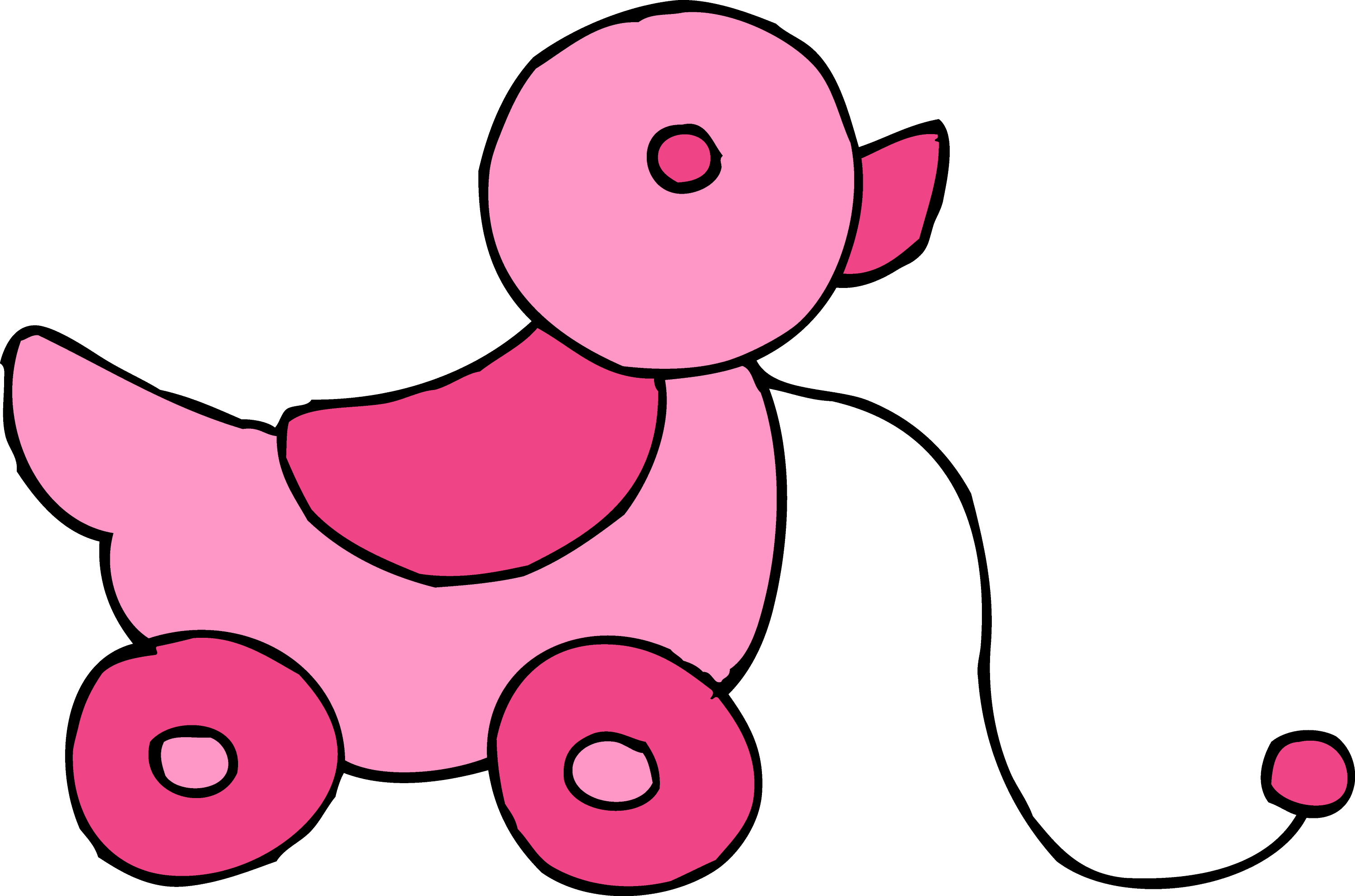 Girl Toys Clip Art : Cute rolling pink duck toy free clip art