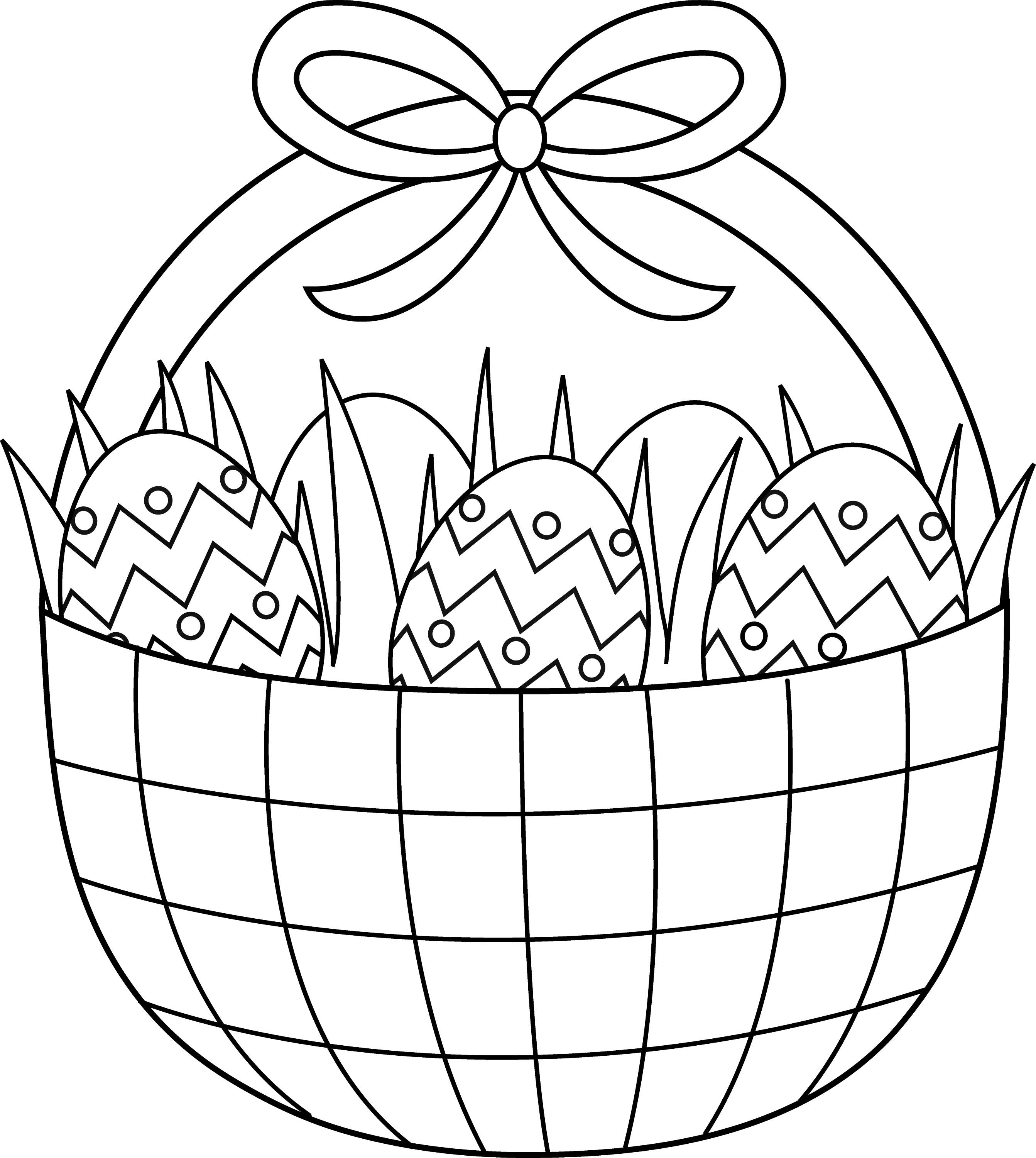 Line Drawing Easter : Easter basket coloring page free clip art