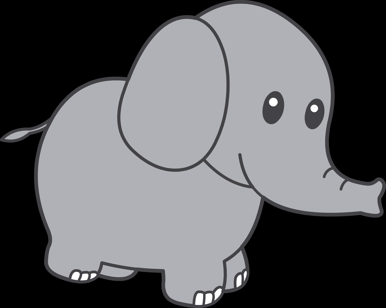 Cute Little Grey Elephant - Free Clip Art