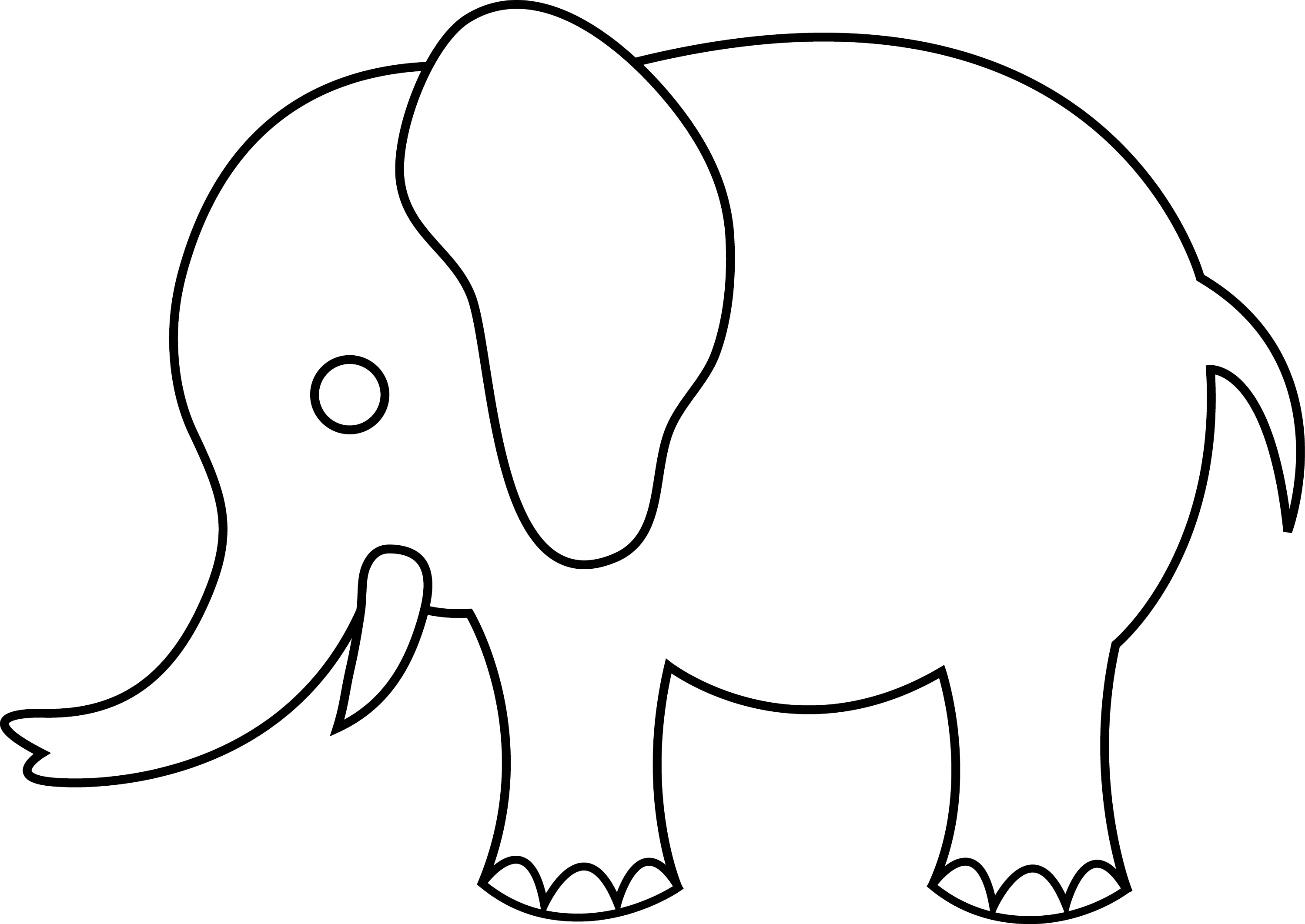 outline of elephant Colouring Pages