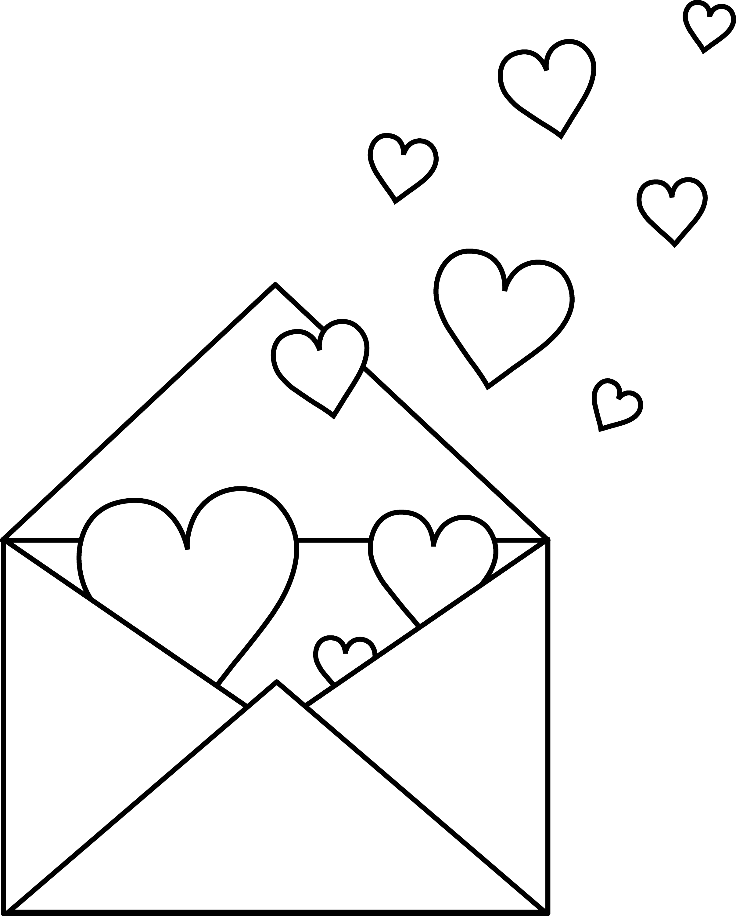 Line Drawing Valentine : Colorable love letter free clip art