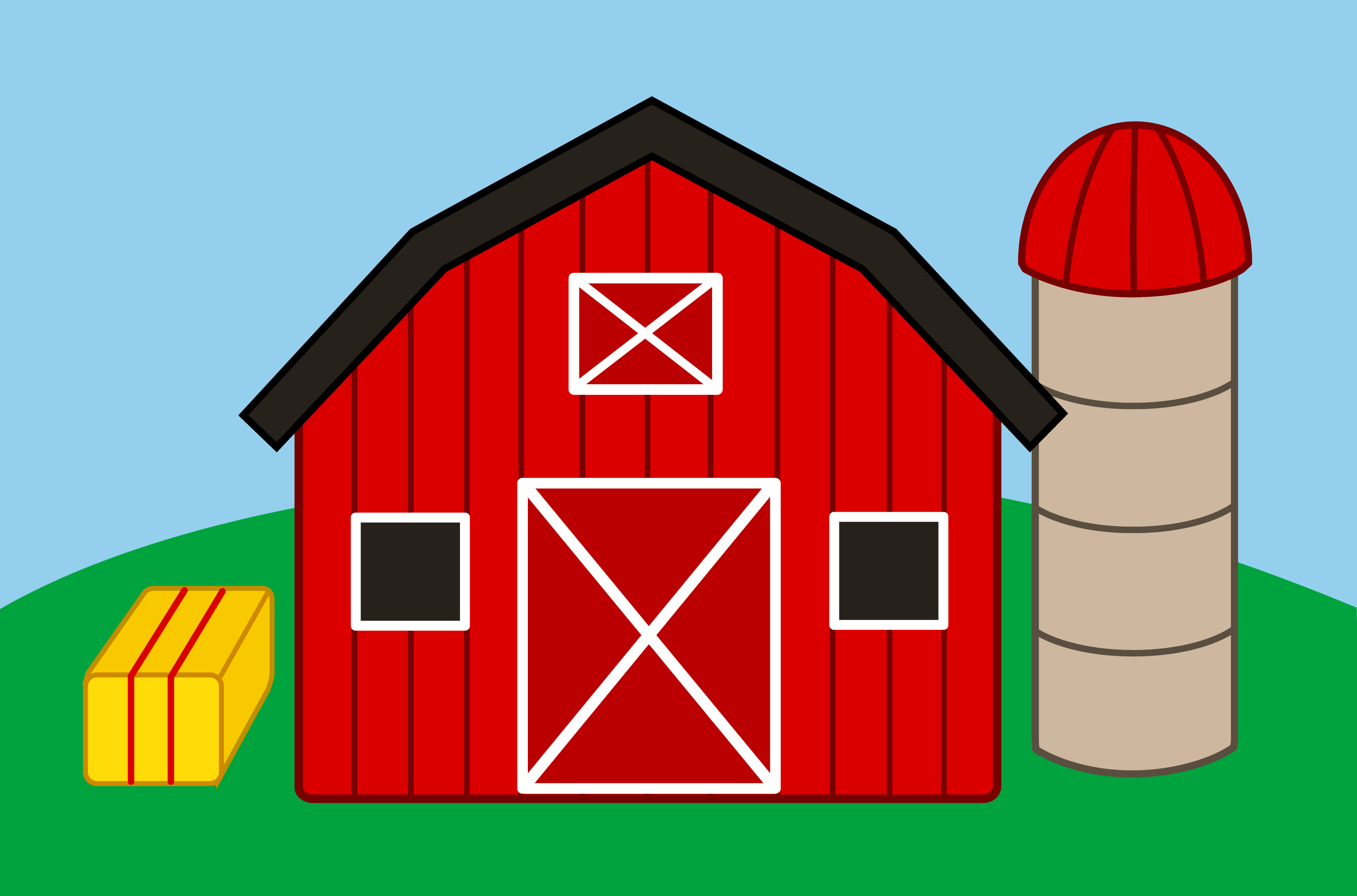 Cute Farm With Barn And Silo