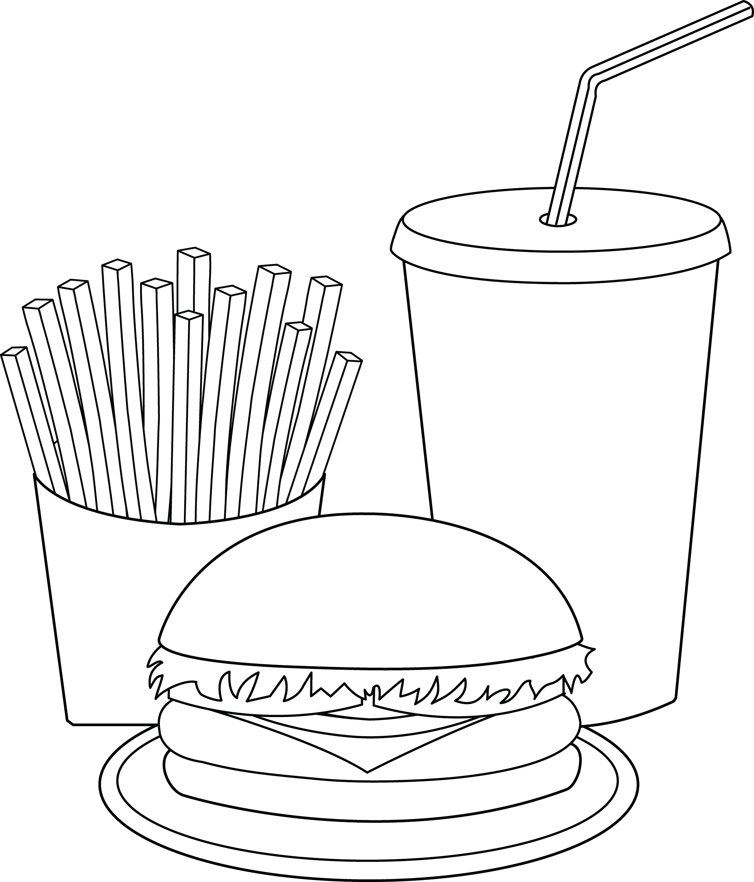 Line Art Food : Burger and fries clip art car interior design
