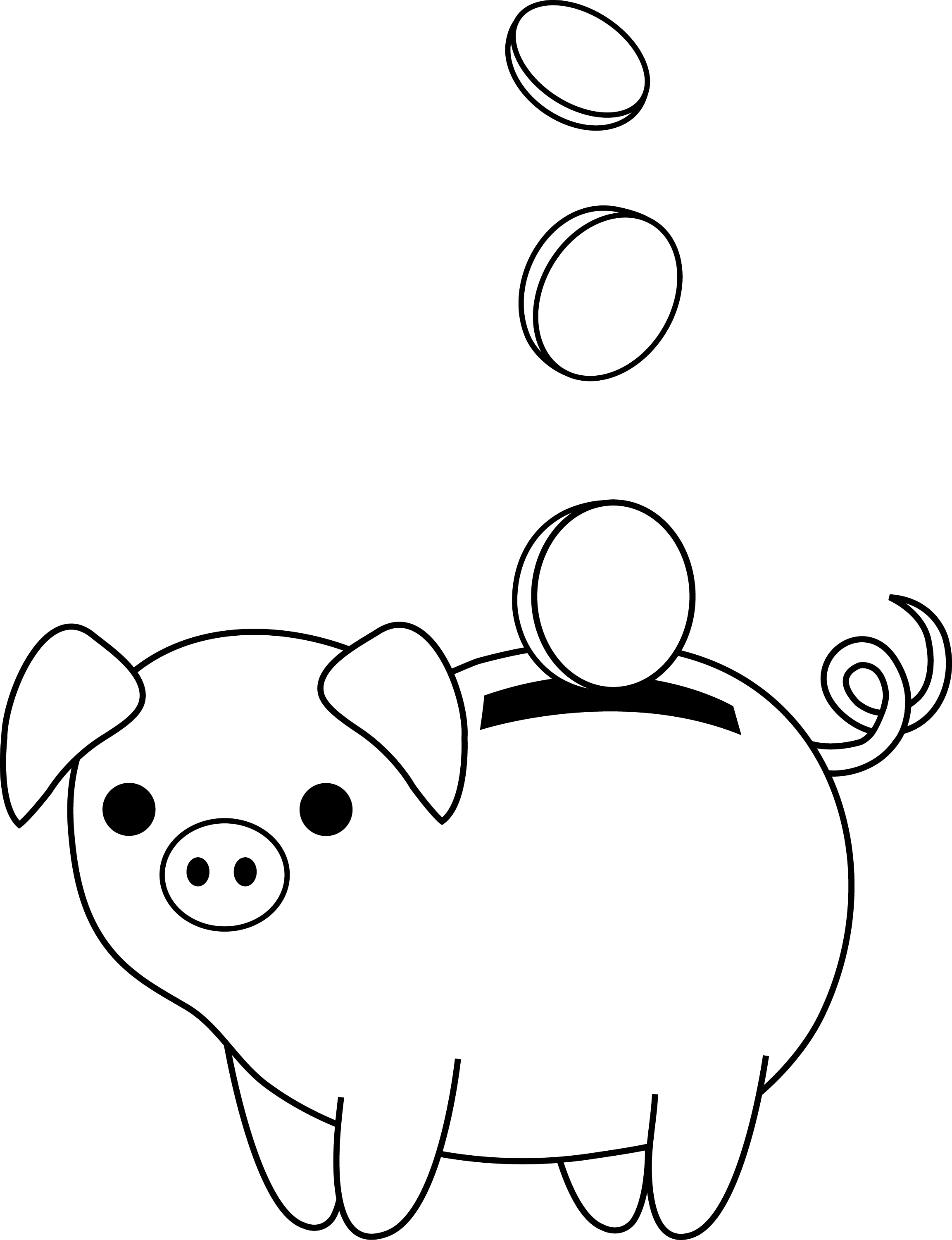 Line Drawing Piggy Bank : Piggy bank colorable line art free clip