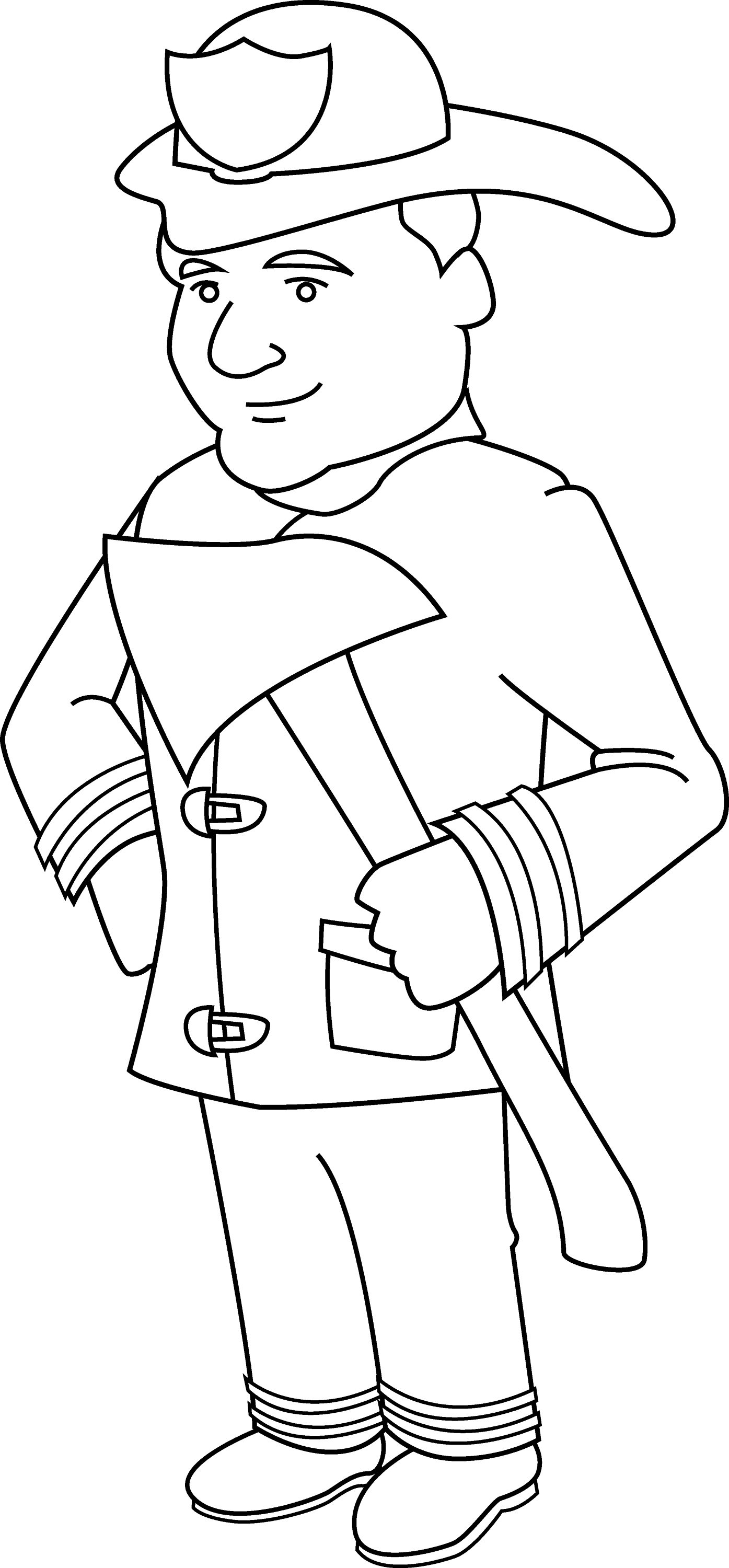 Firefighter Coloring Page - Free Clip Art