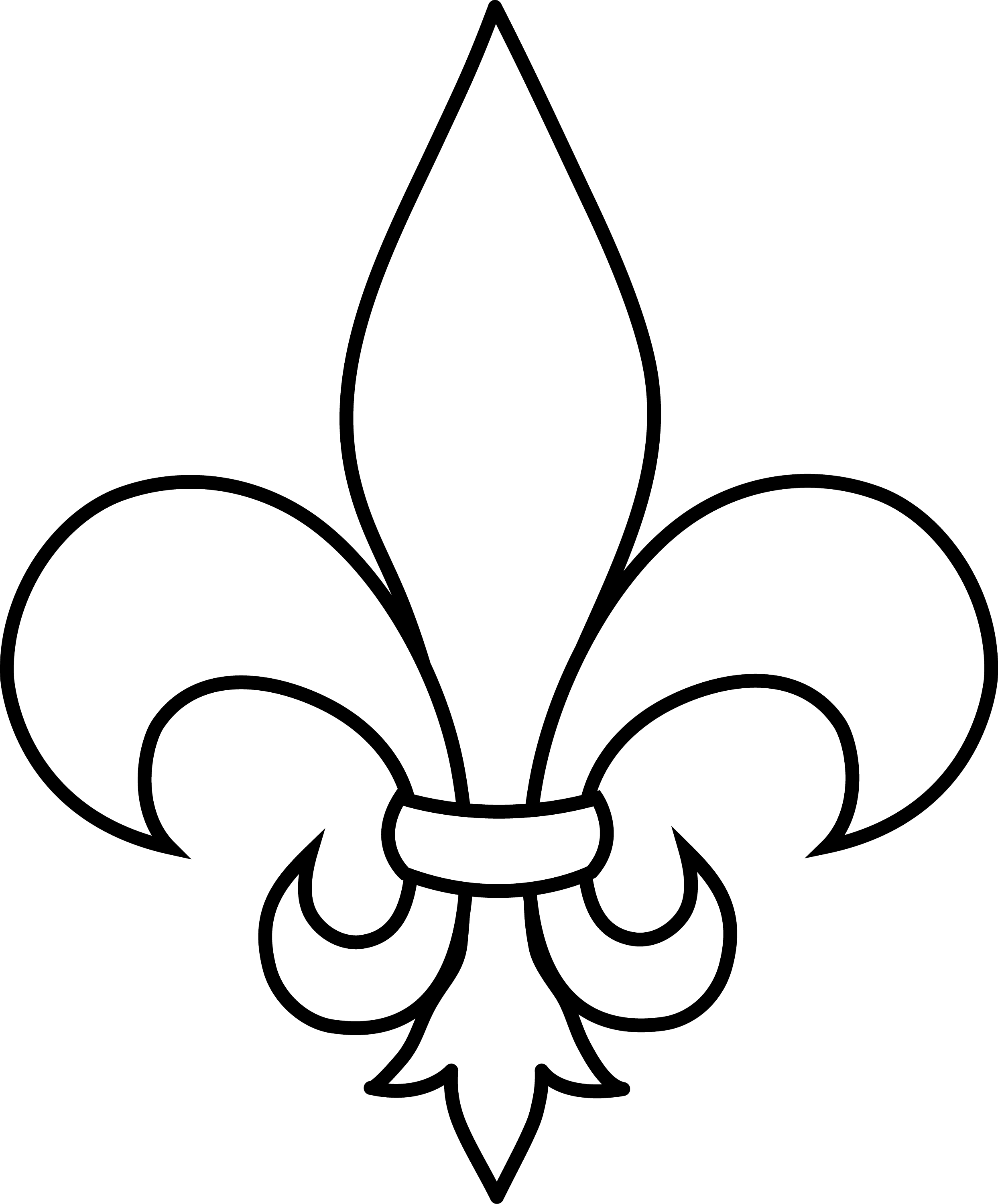 Fleur De Lis Black and White Lineart