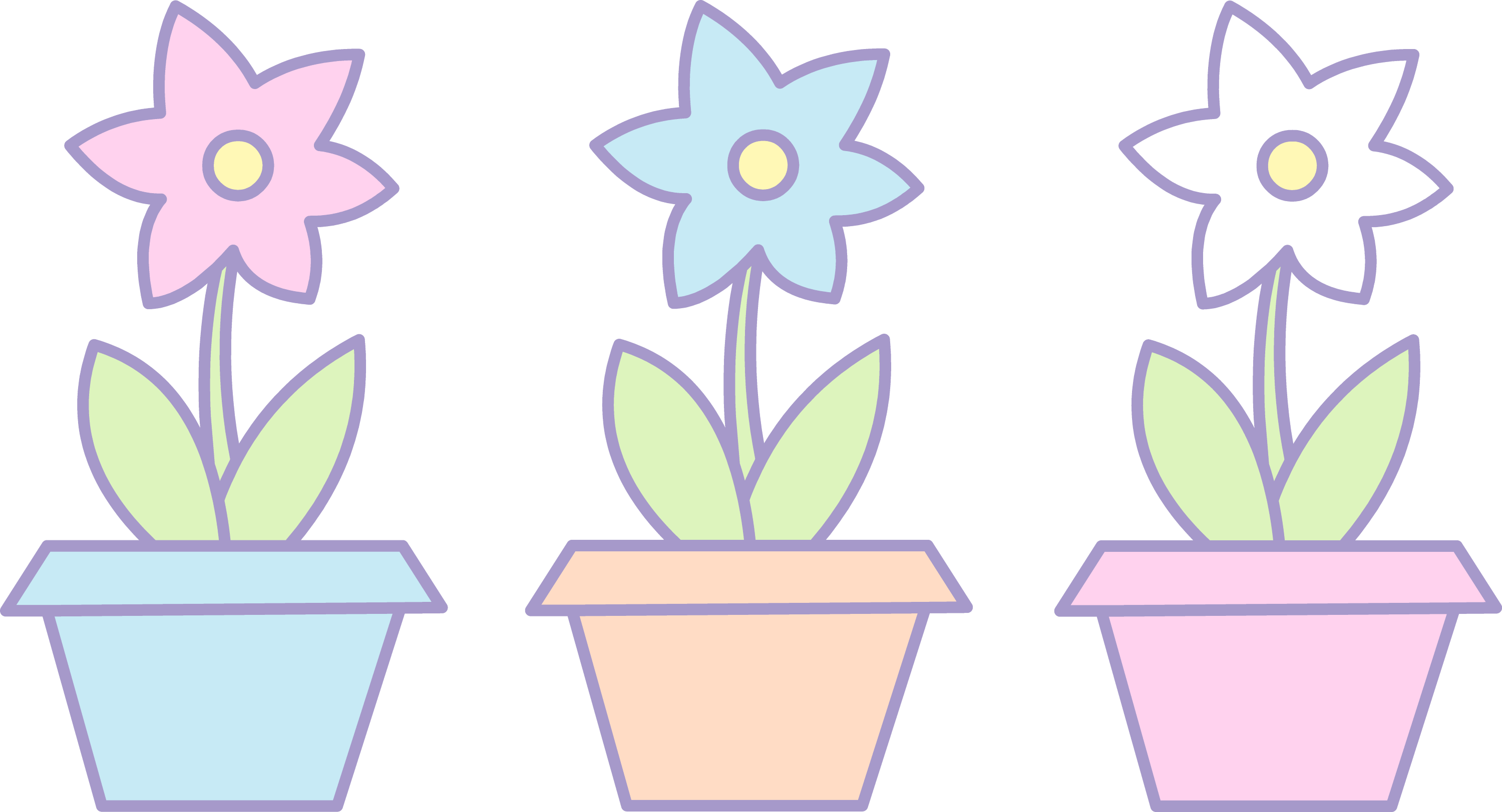 Three Cute Flowers In Pots Free Clip Art