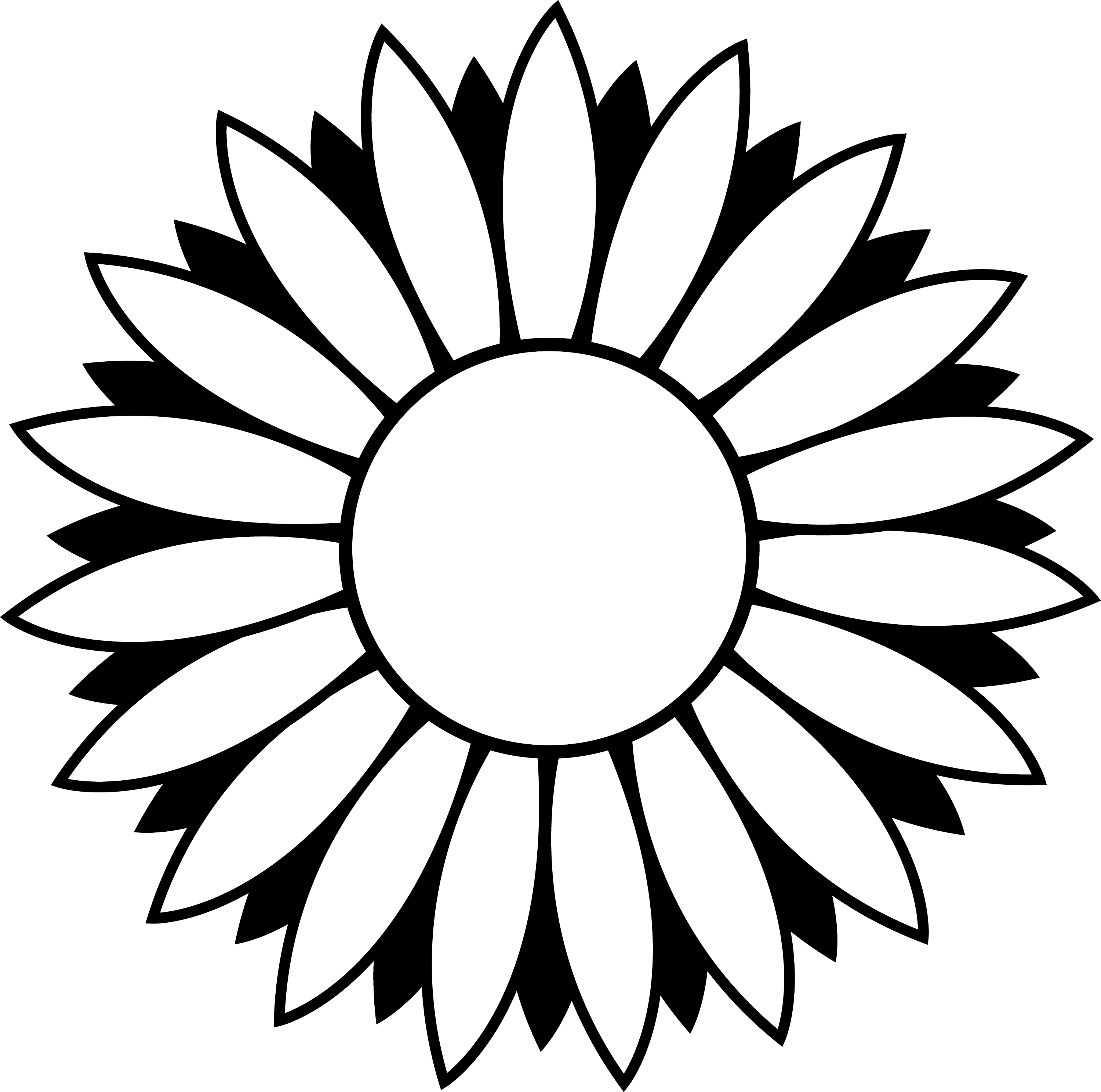 Black and White Colorable Sunflower - Free Clip Art