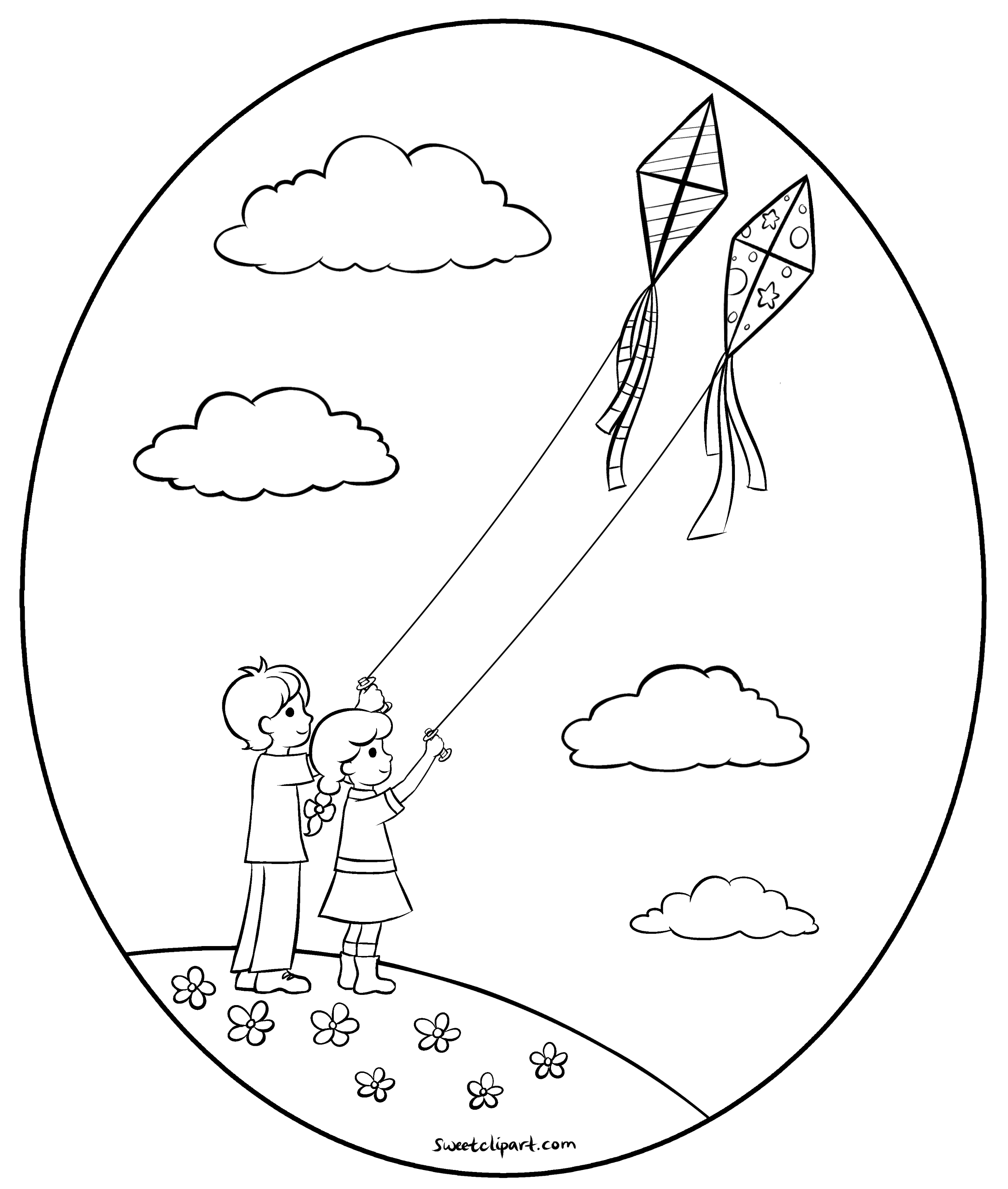 flying kites coloring page free clip art