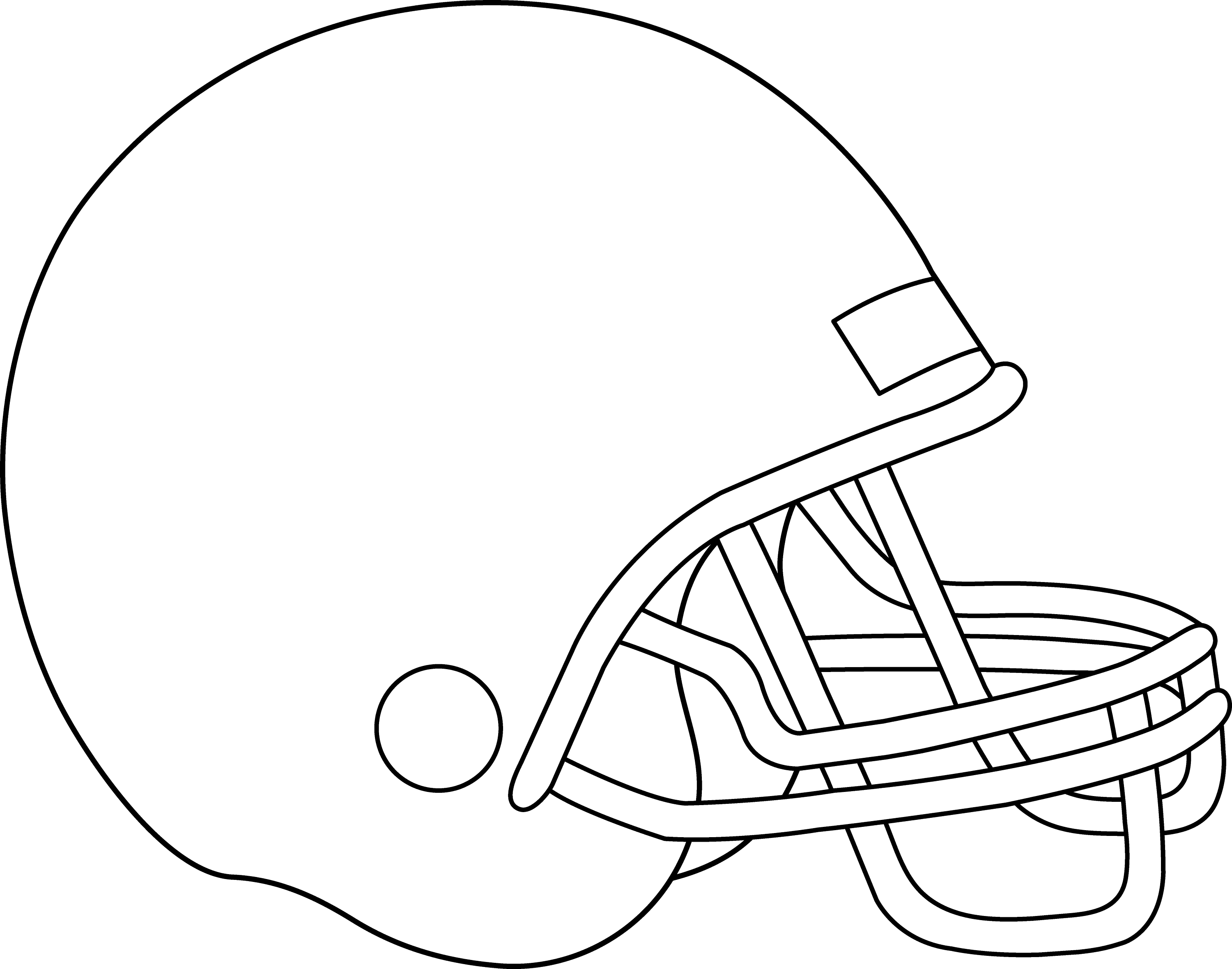 Blank Football Helmet For Coloring - Free Clip Art