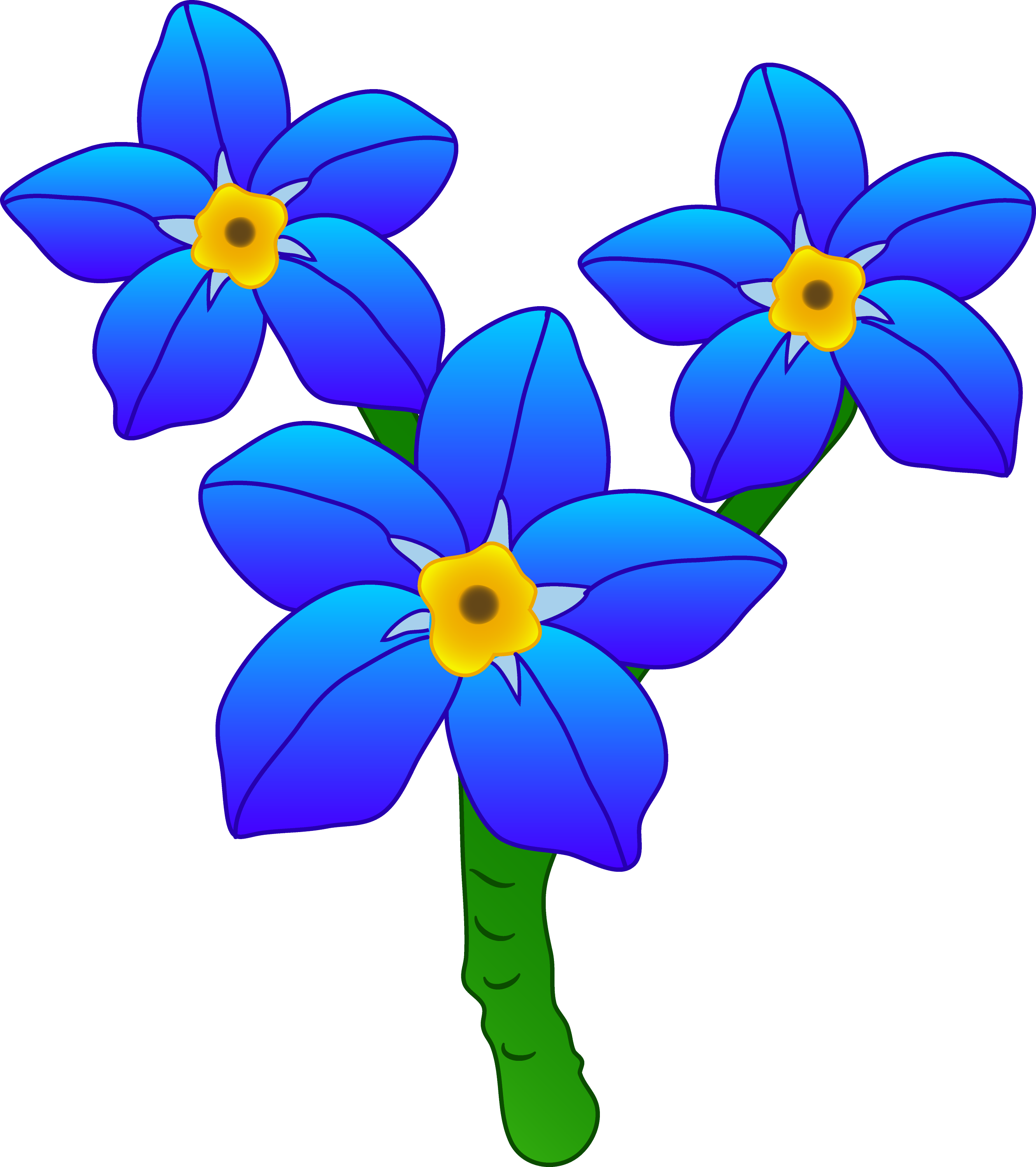 Three Forget Me Not Flowers - Free Clip Art