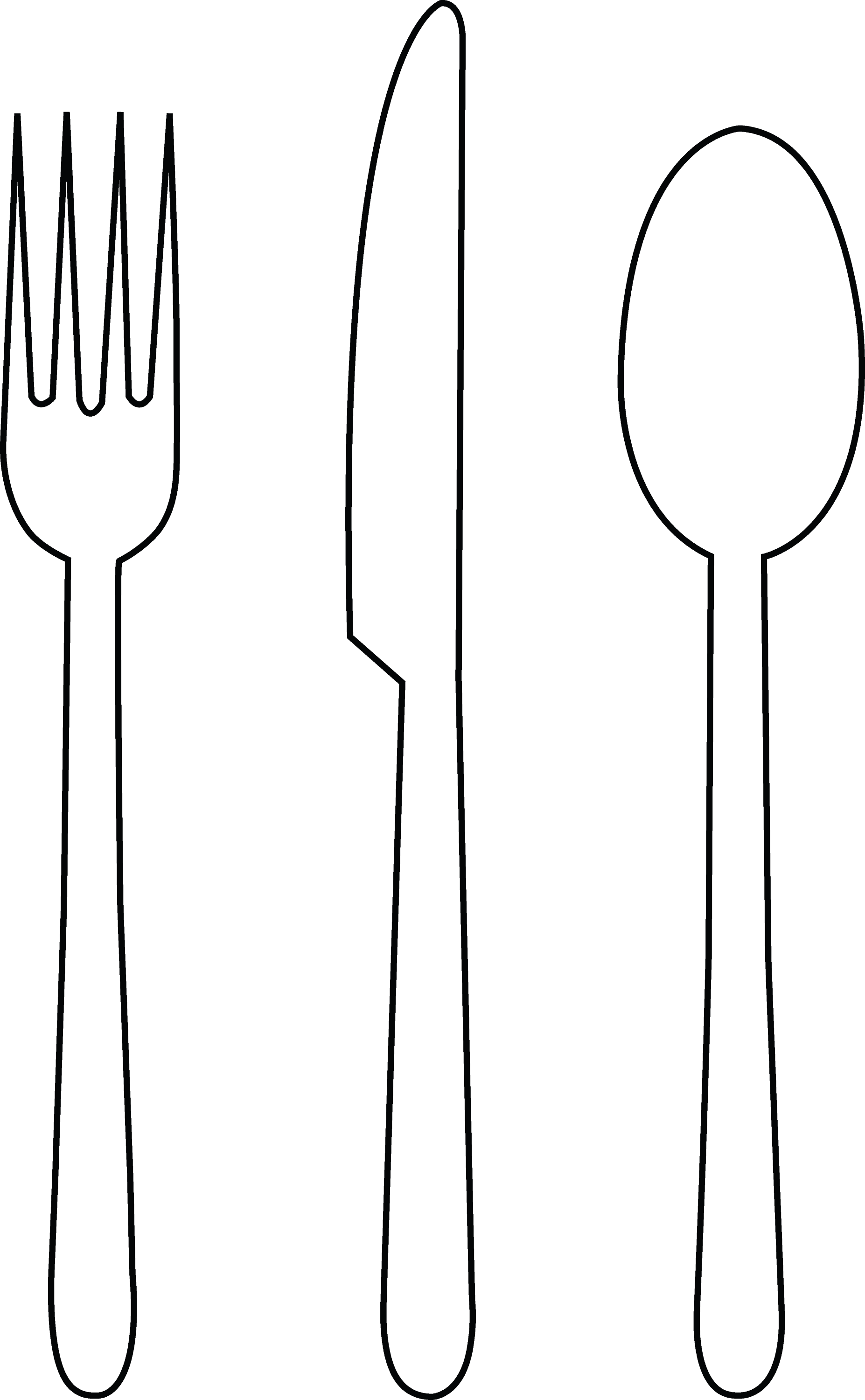 Colorable Tableware - Free Clip Art