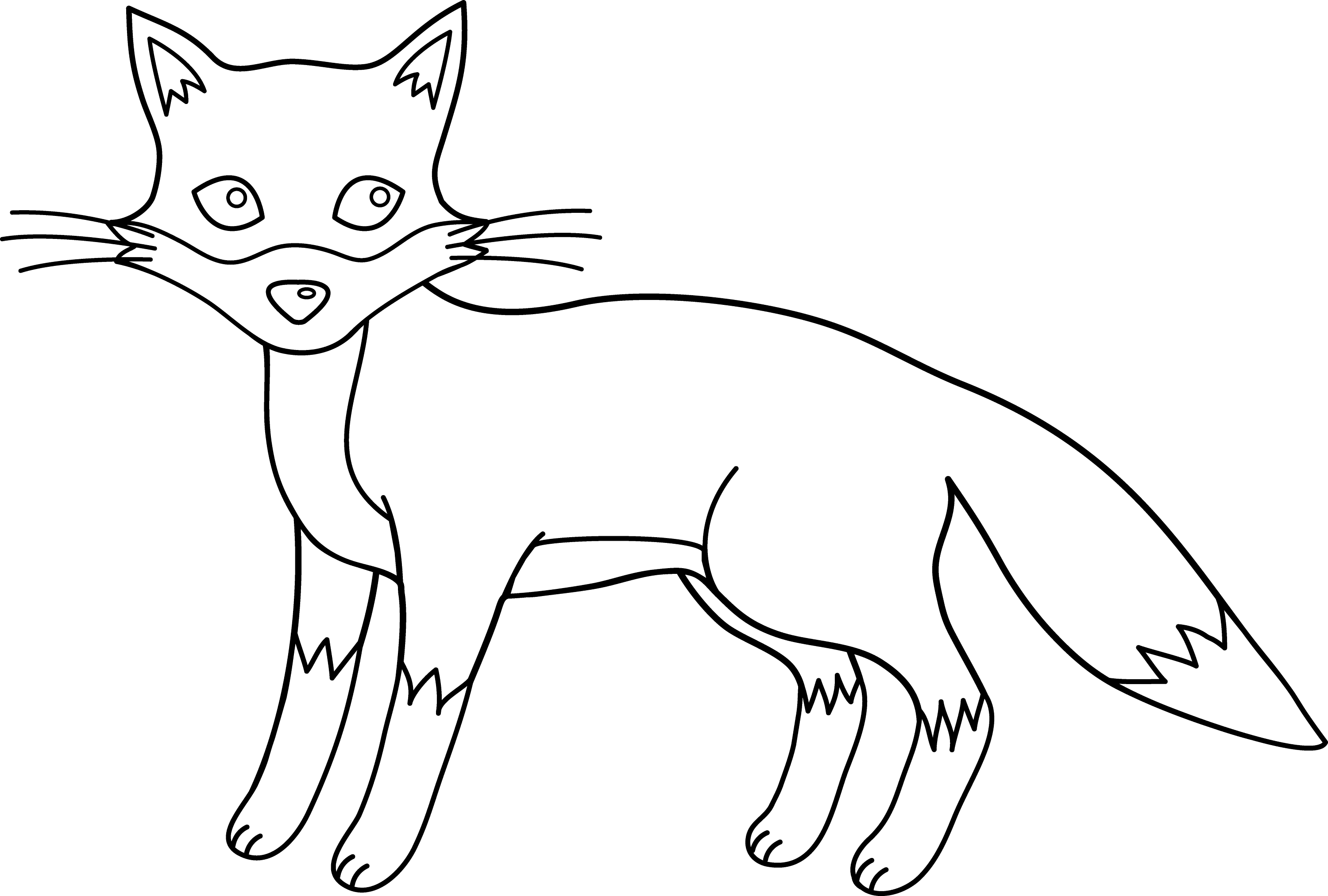 Line Drawing Fox : Cute fox line art free clip
