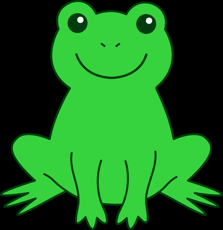 Happy Green Frog - Free Clip Art