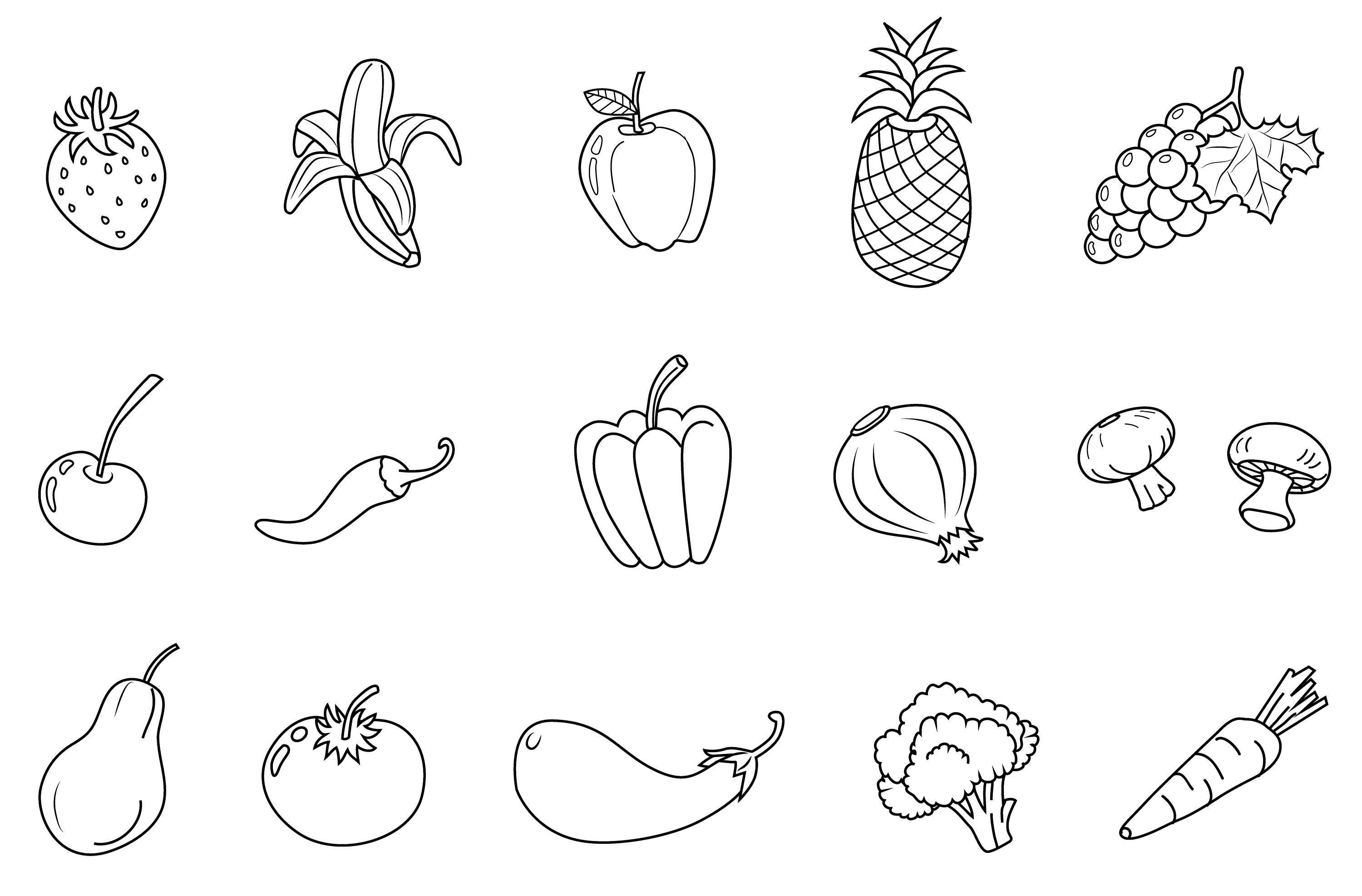 Fruits And Vegetables Line Art Set Free Clip Art Fruit And Vegetable Coloring Pages