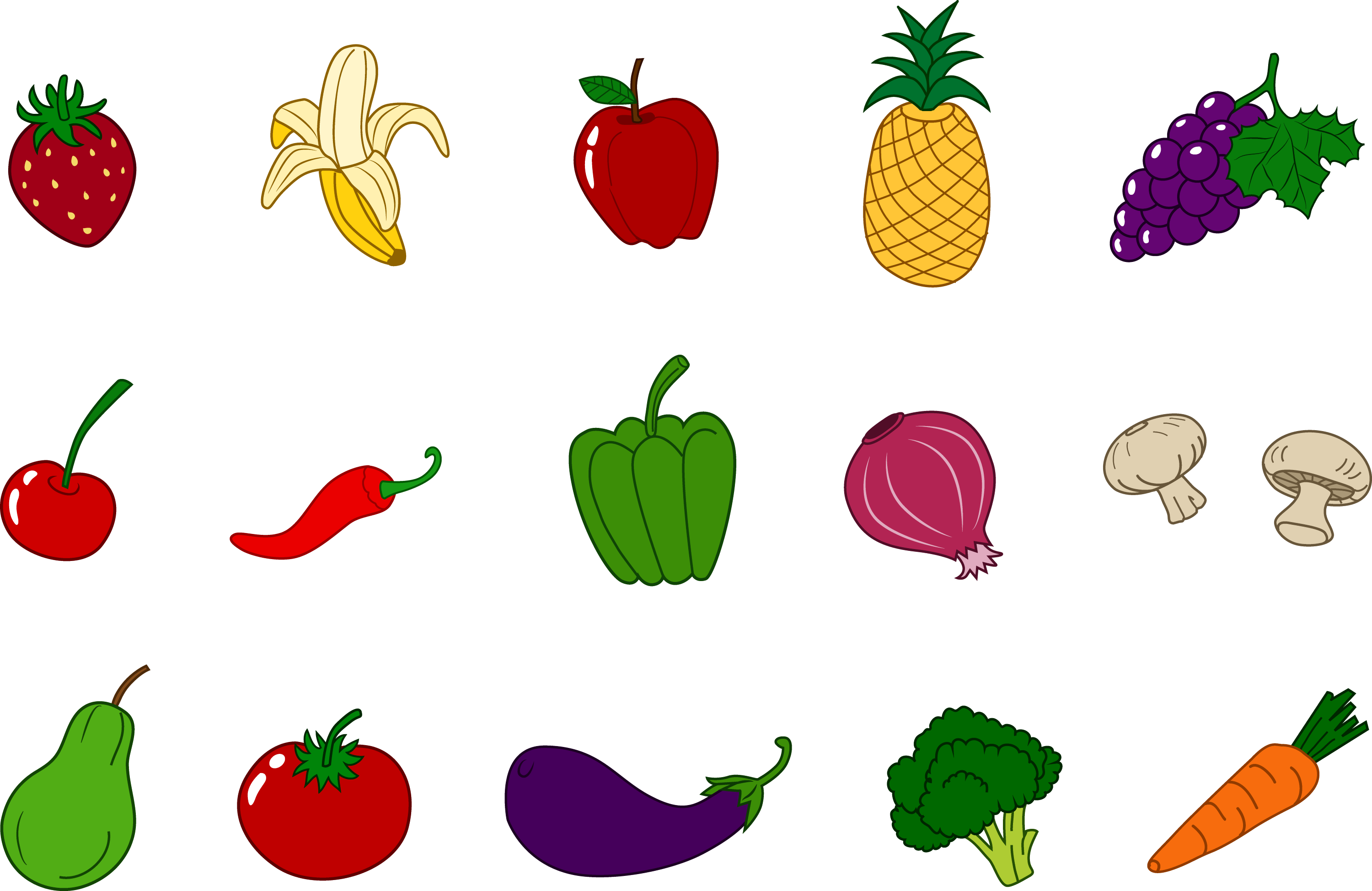 Fruits and Vegetables Clipart Set - Free Clip Art