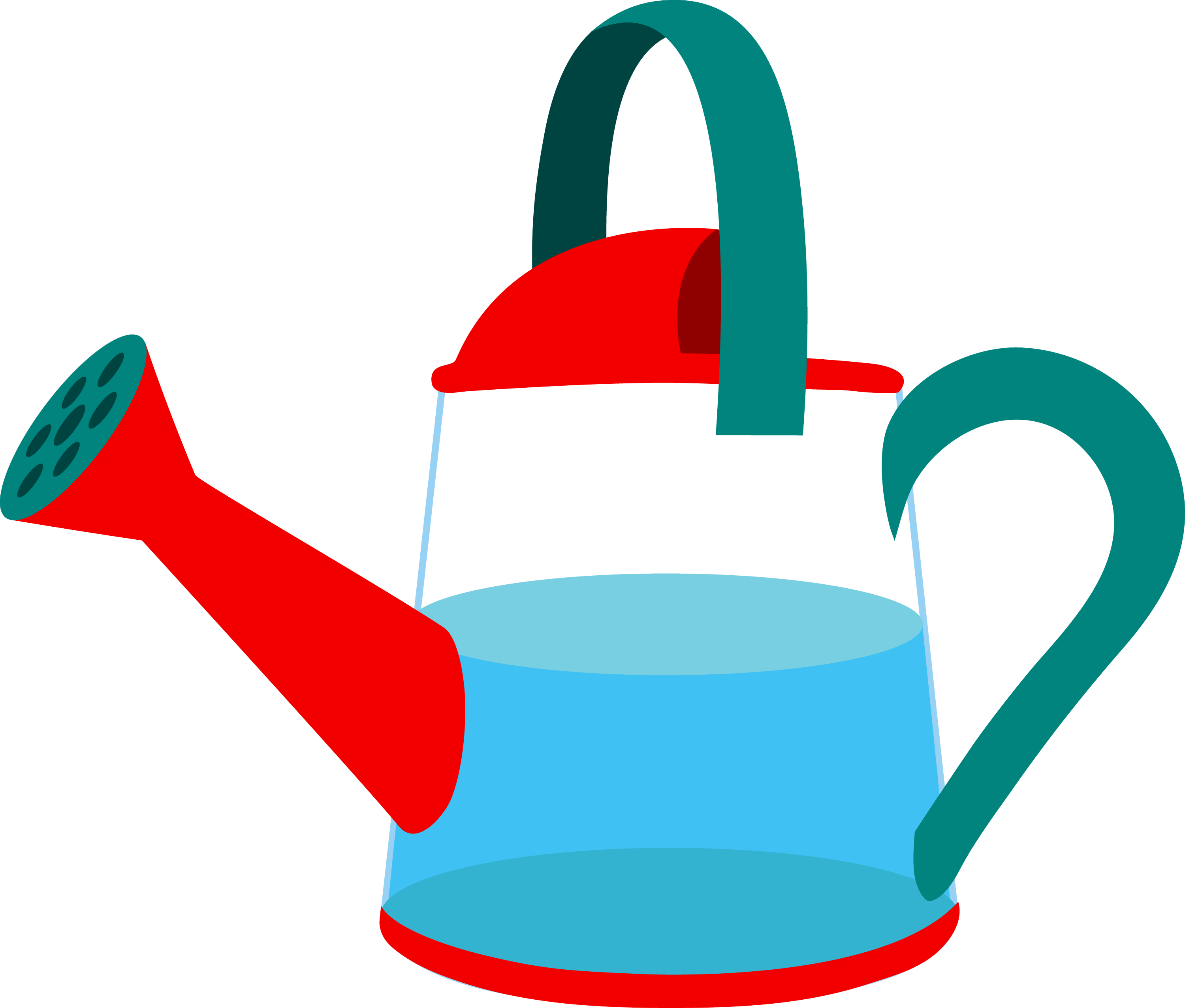 garden watering can half full transparent