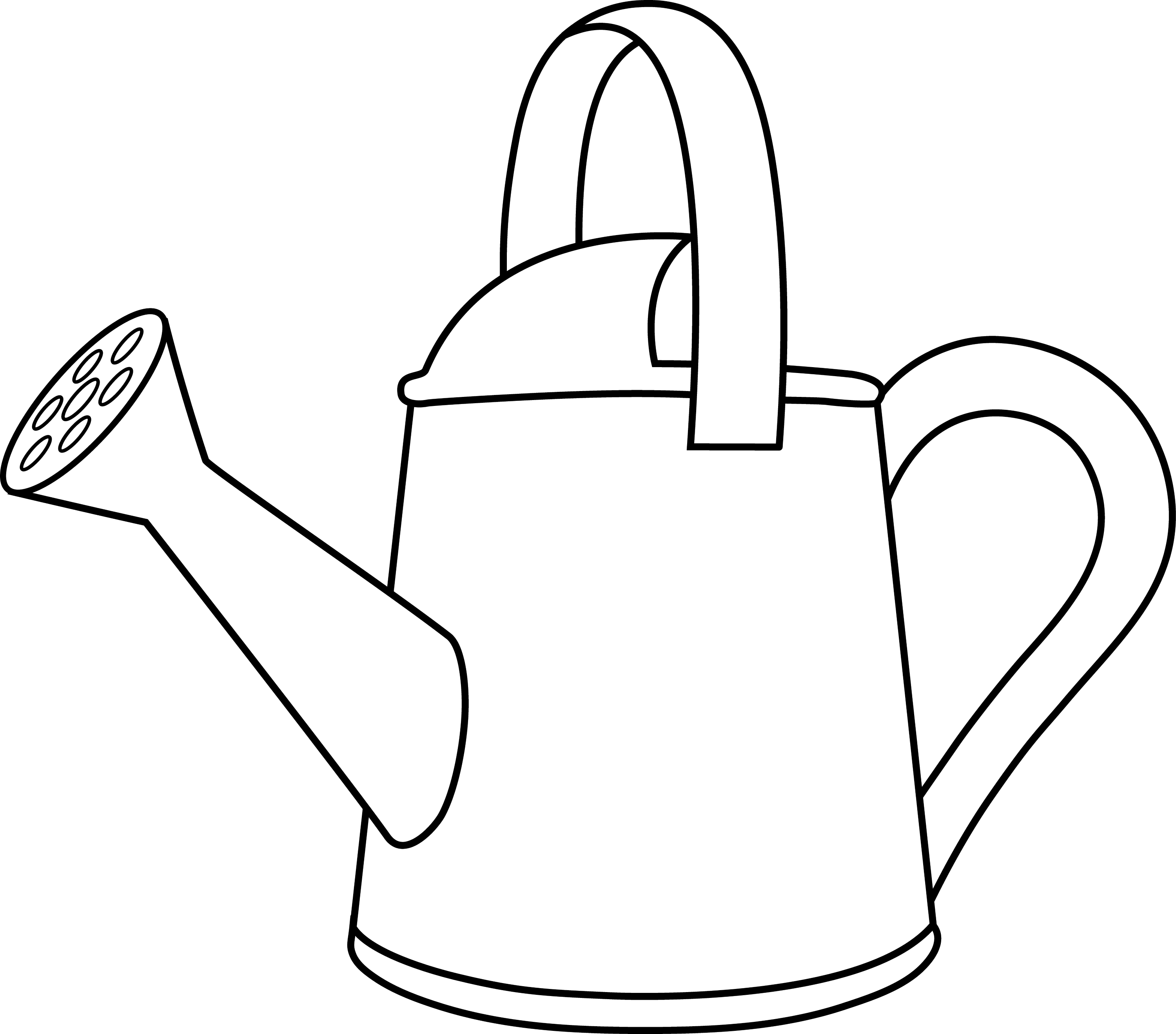 Colorable Watering Can Outline - Free Clip Art