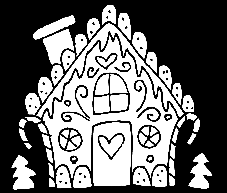 - Cute Gingerbread House Line Art - Free Clip Art