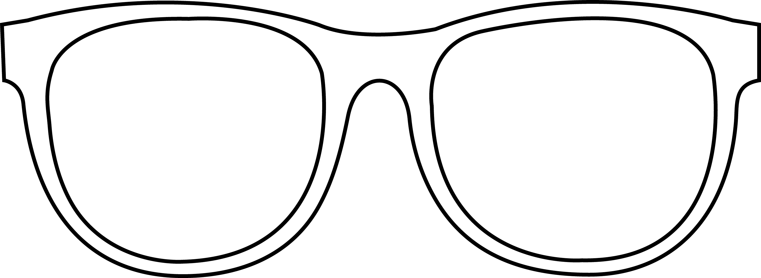 Black Frame Glasses Drawing : Sunglasses Transparent Line Art - Free Clip Art