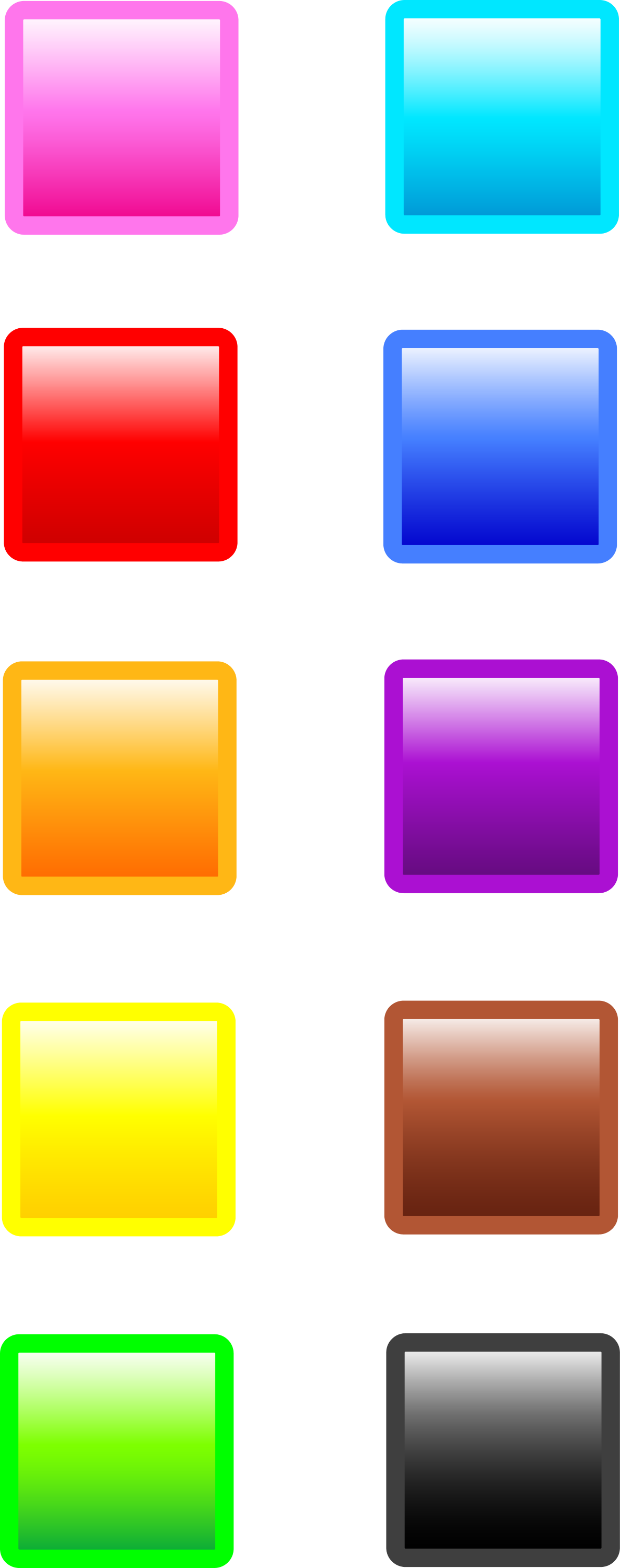 Ten Glossy Square Web Buttons - Free Clip Art