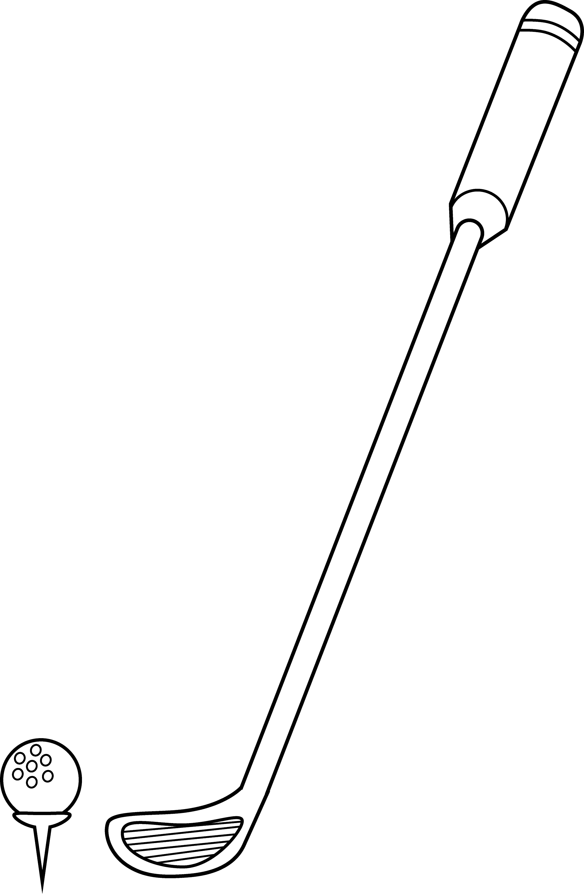 golf club and ball coloring page free clip art