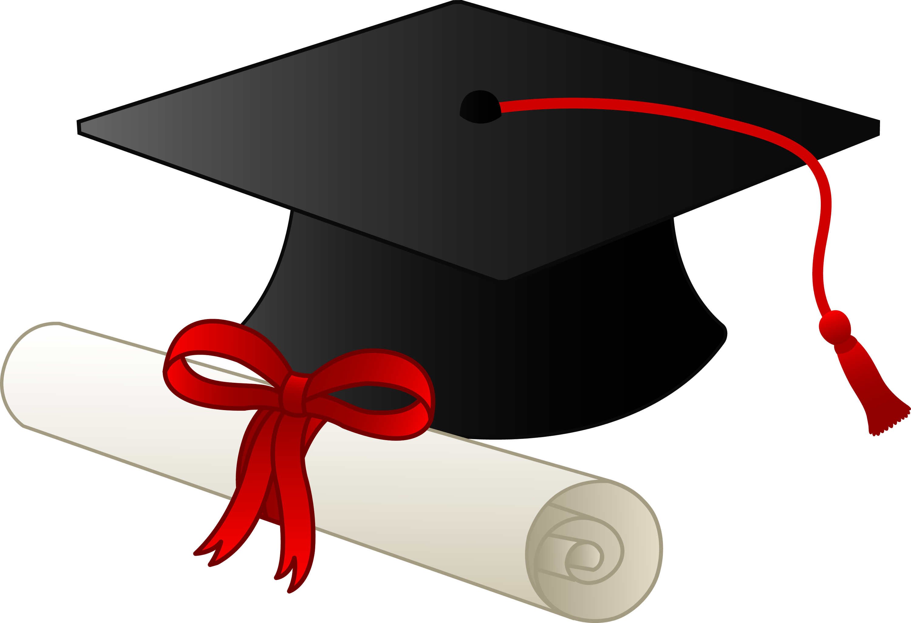 Graduation Cap and Diploma Clip Art